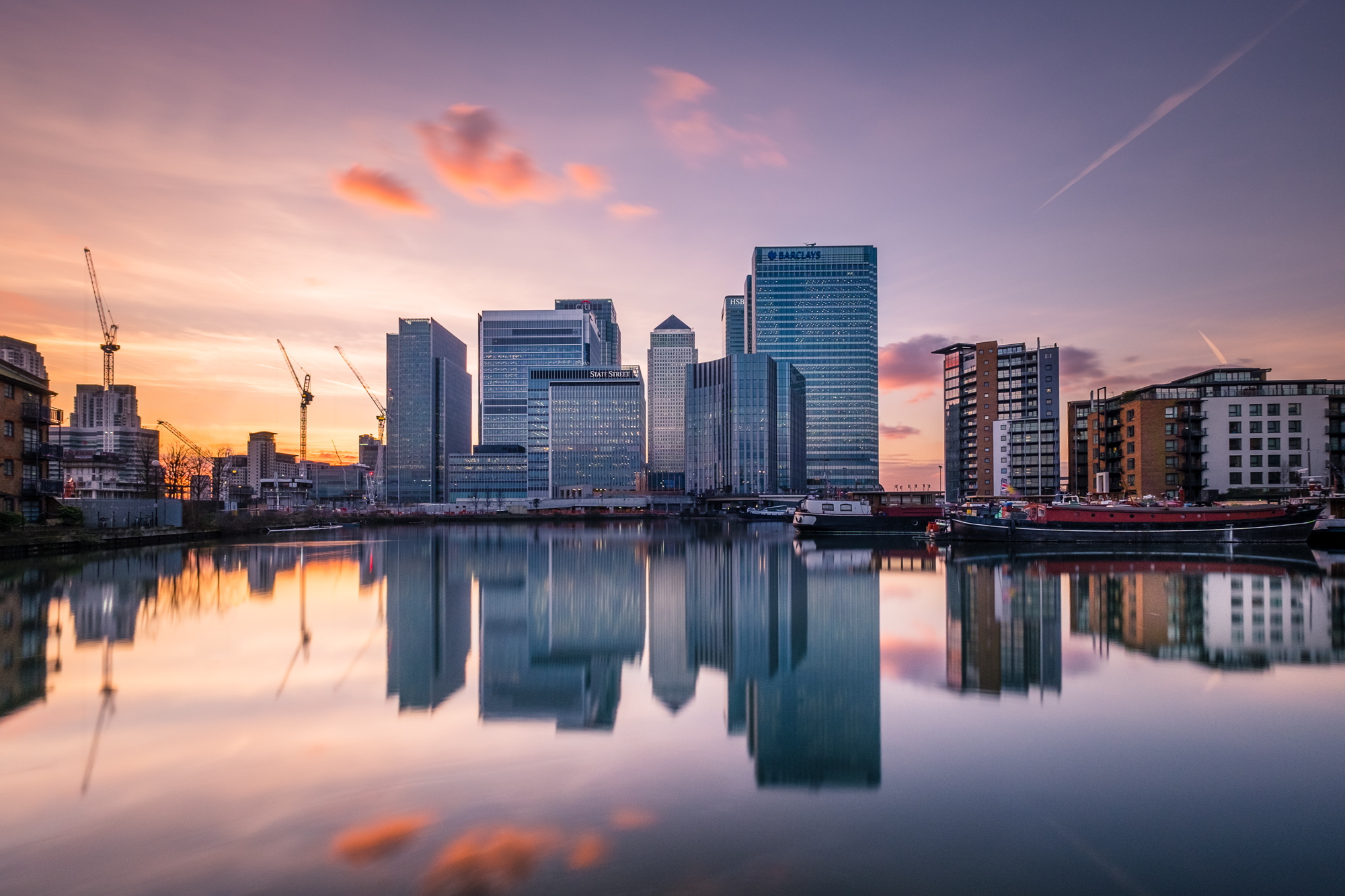 Photograph of the Sunset at Canary Wharf taken by Trevor Sherwin