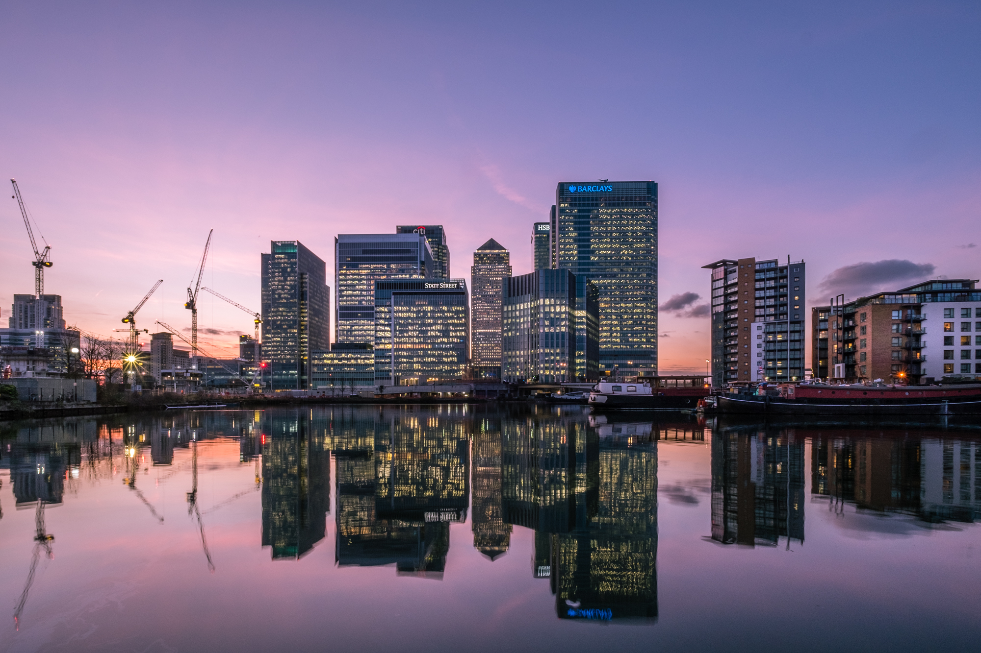 A photo of Canary Wharf in the blue hour taken by Trevor Sherwin