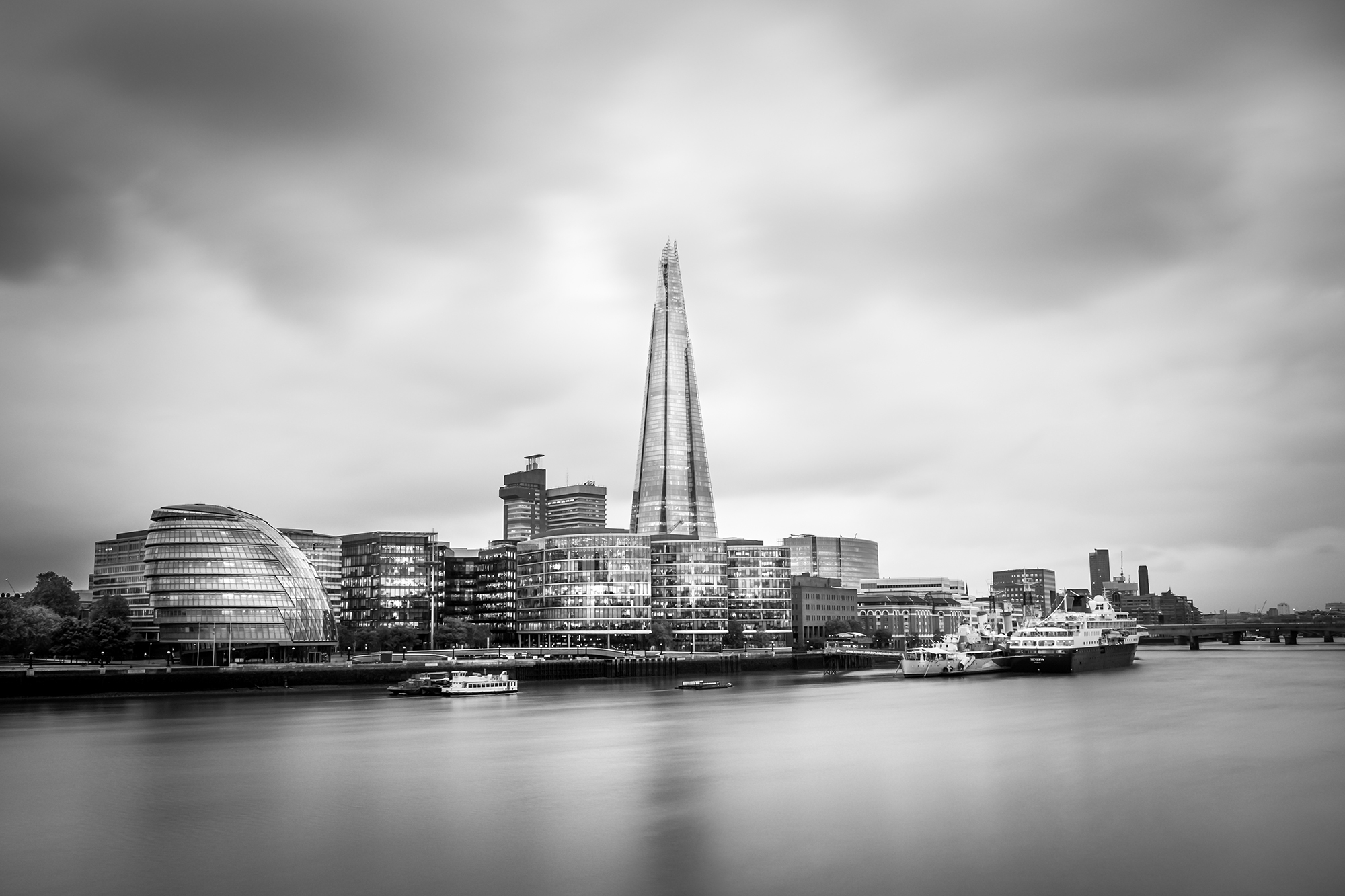 Long exposure black and white photo of The Shard London by Trevor Sherwin