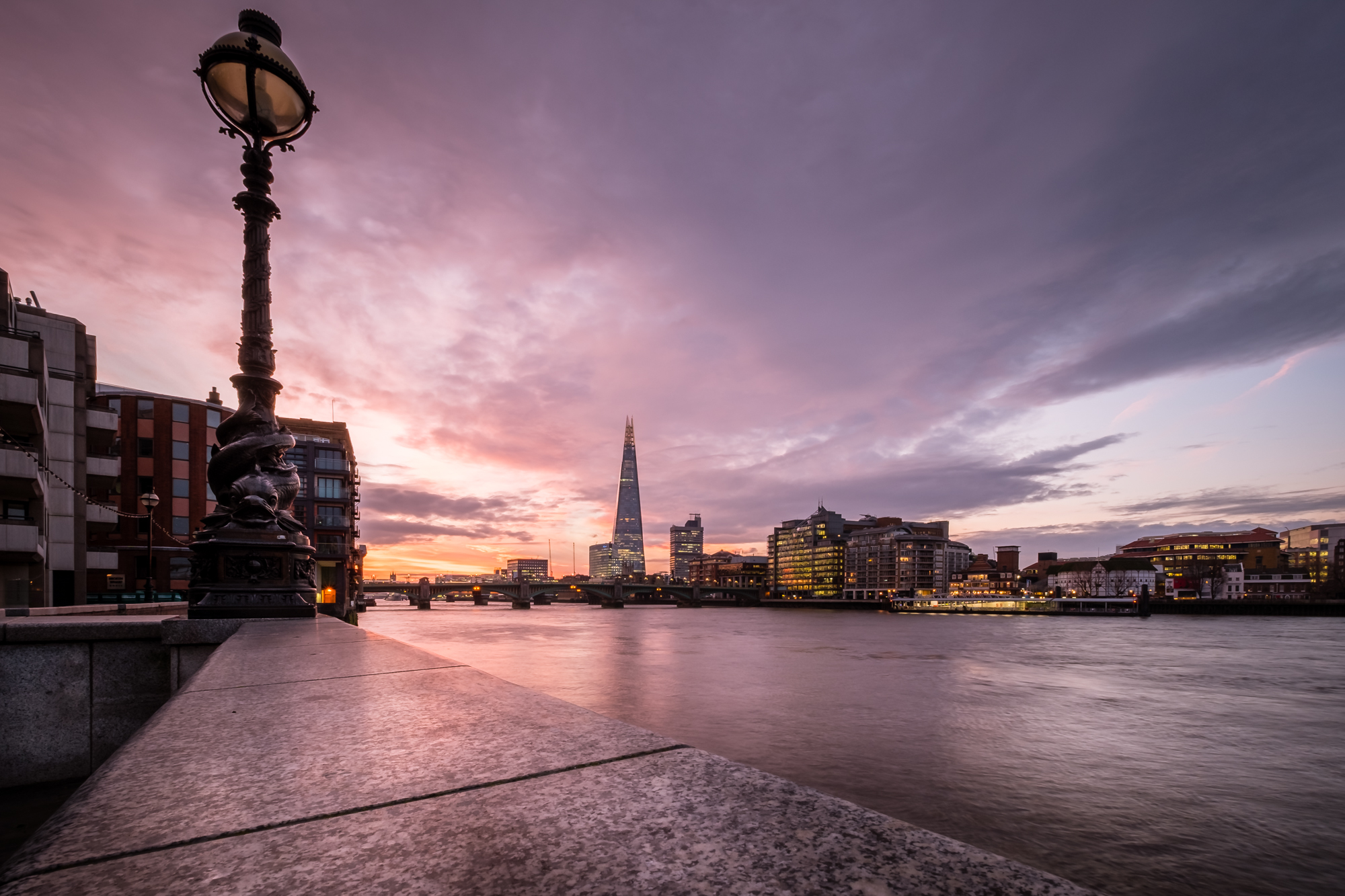 A picture of the River Thames and The Shard in London at sunrise by Trevor Sherwin
