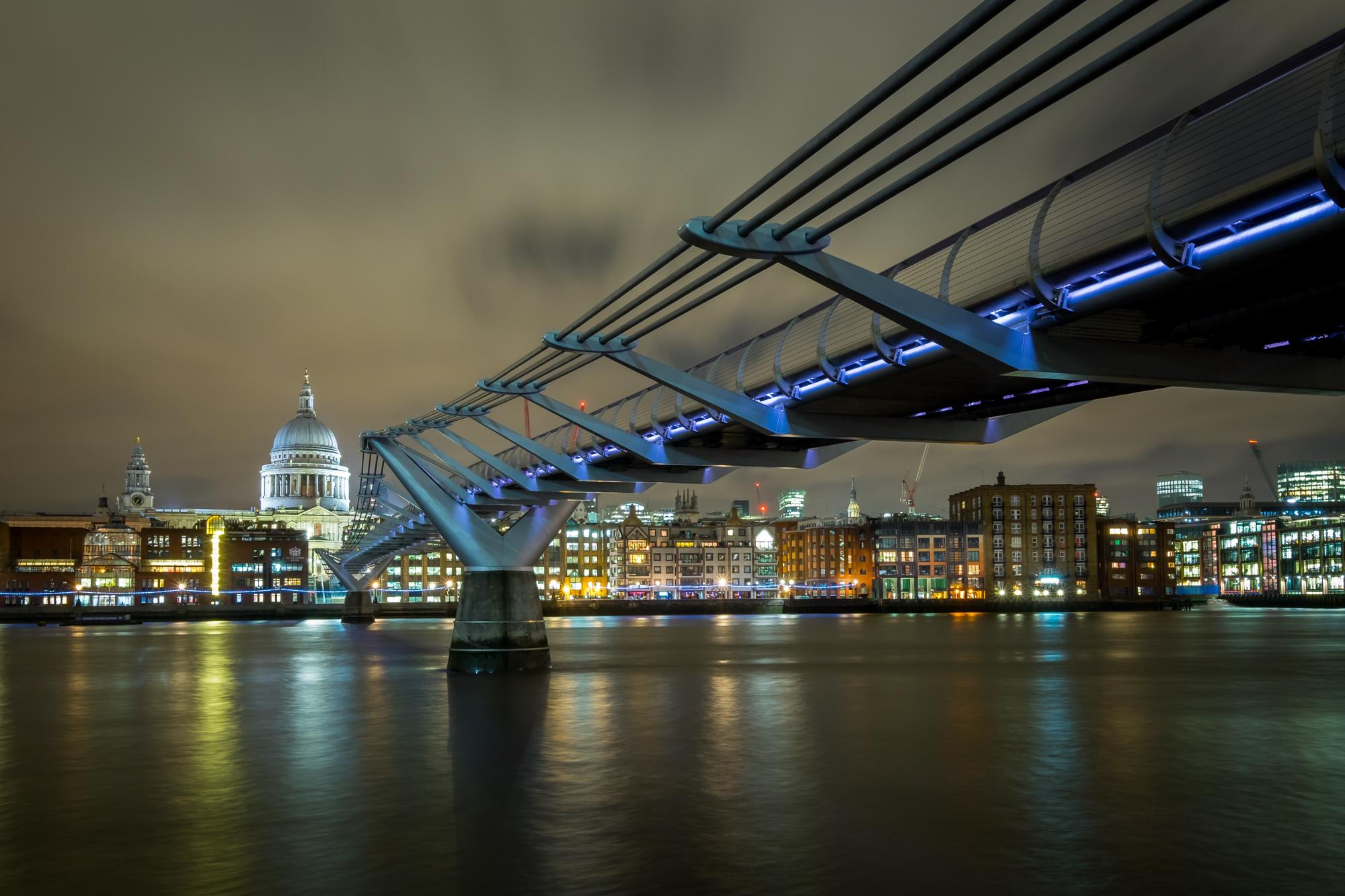 A Photo of the Millennium Bridge at night taken by Trevor Sherwin