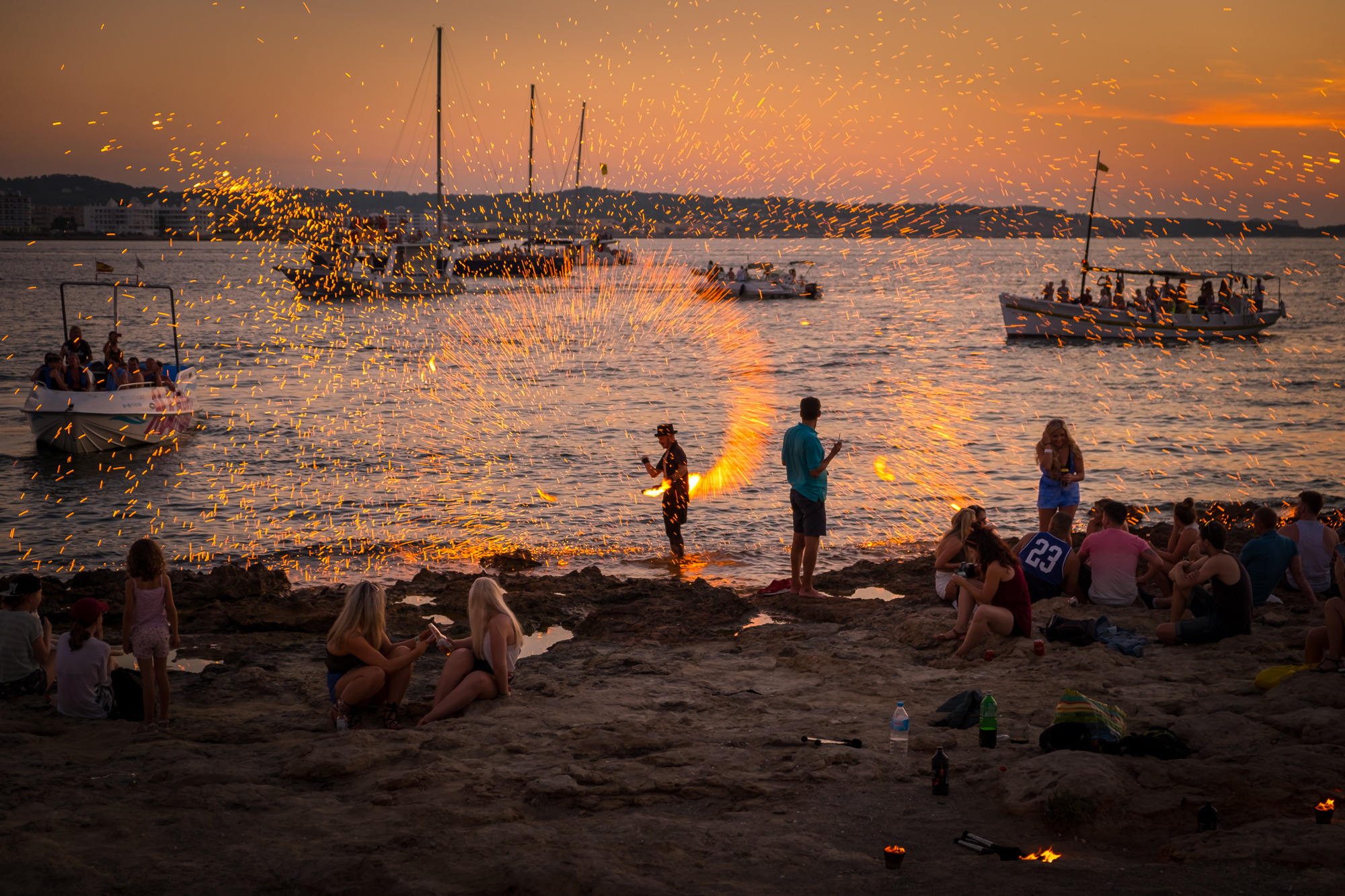 Photo of a Fire spinner in Ibiza at sunset taken by Trevor Sherwin