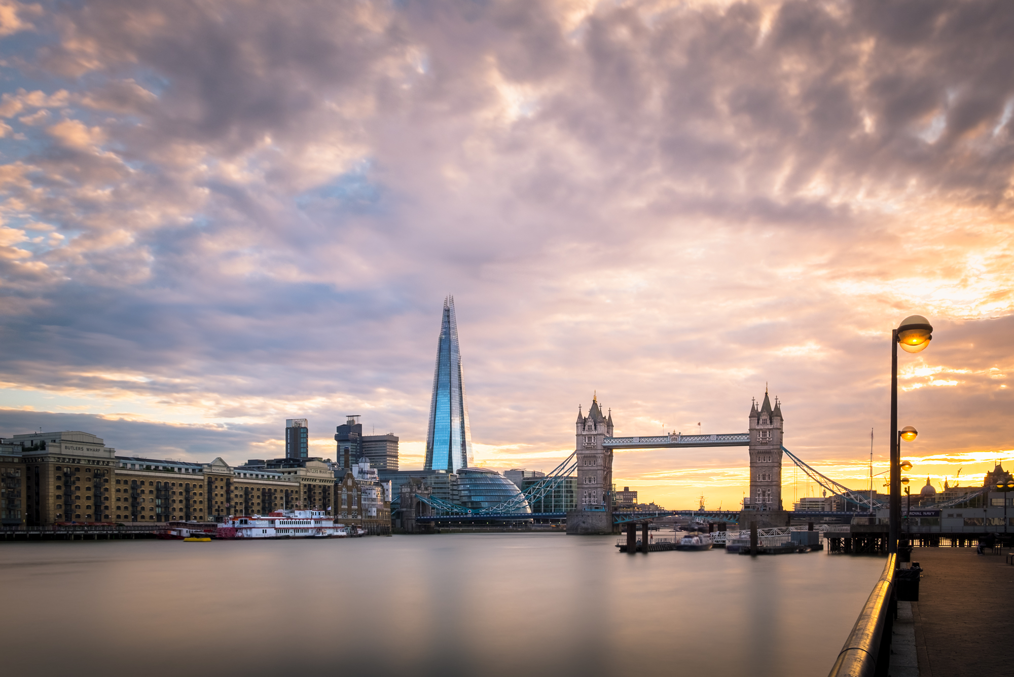 Photo of the Shard and Tower Bridge in London at sunset taken by Trevor Sherwin
