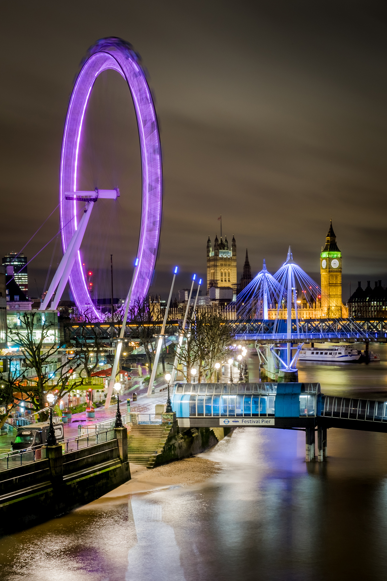 London Eye at night from Waterloo Bridge taken by Trevor Sherwin