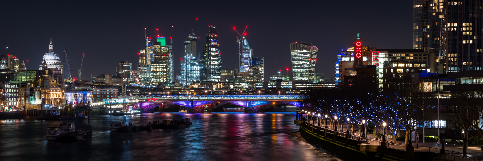 London panoramic photo of London at night by Trevor Sherwin