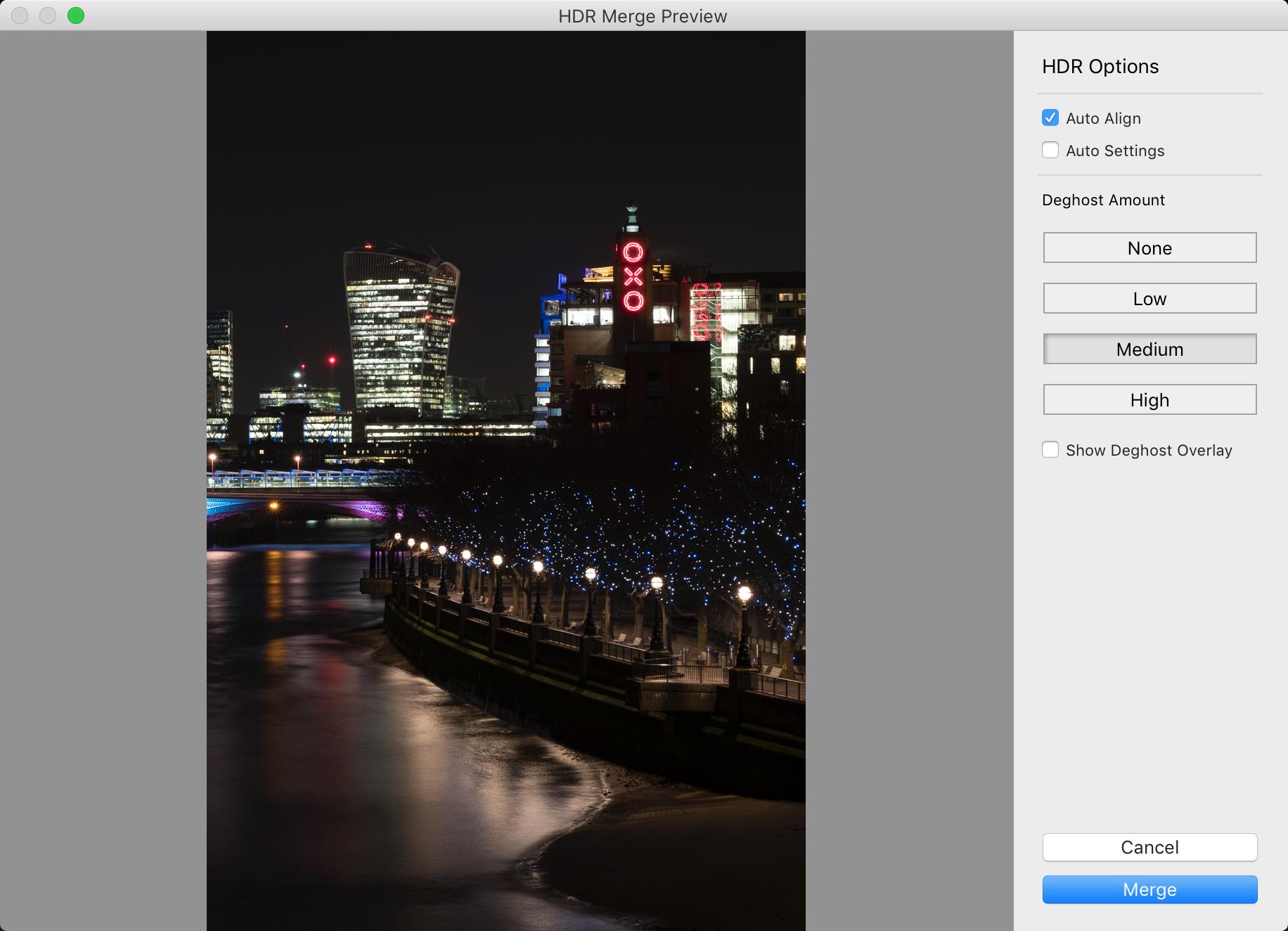 Screen shot of lightroom hdr window