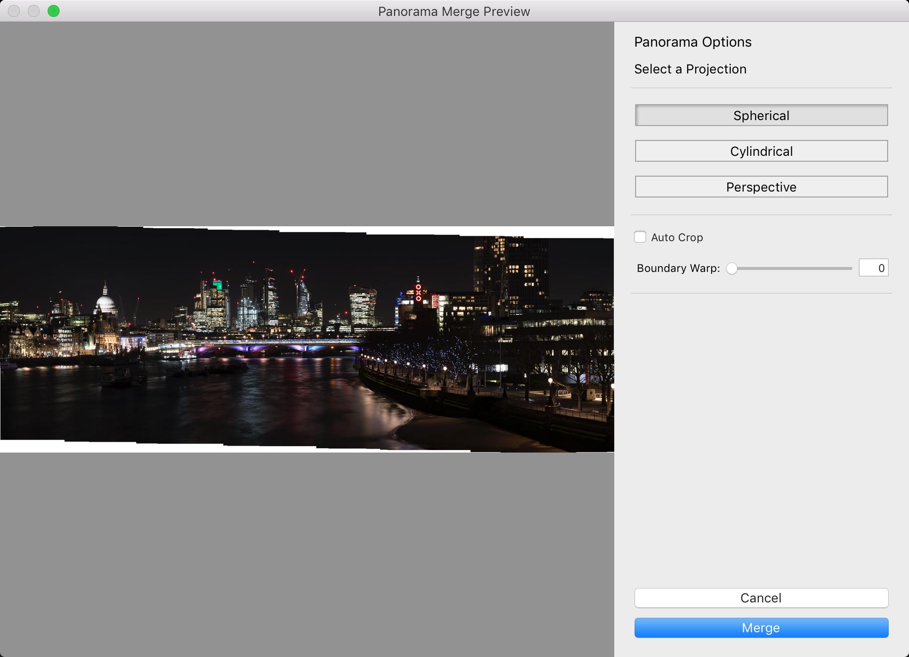 Panorama Merge Preview lightroom screen shot
