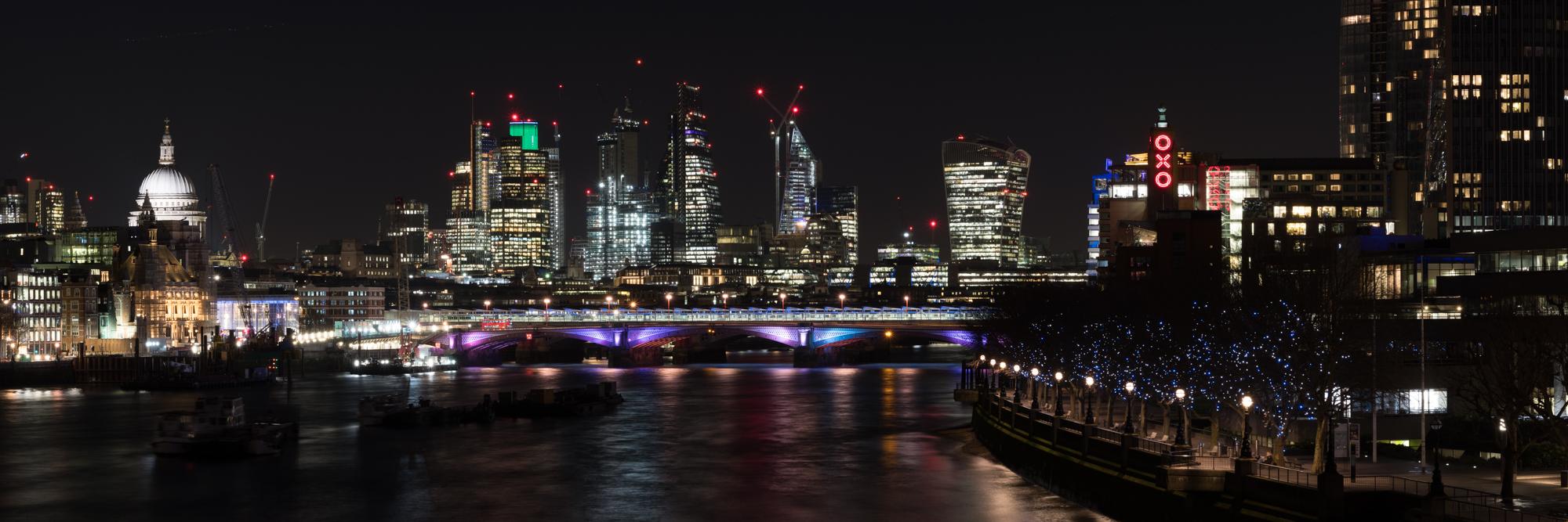 London panoramic photo at night by Trevor Sherwin