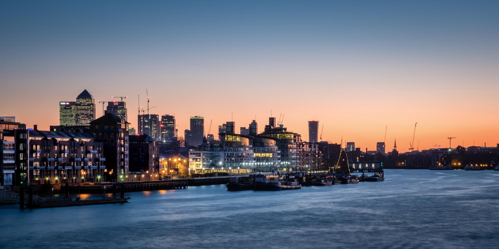 St Katherine's Dock during sunrise taken by Trevor Sherwin