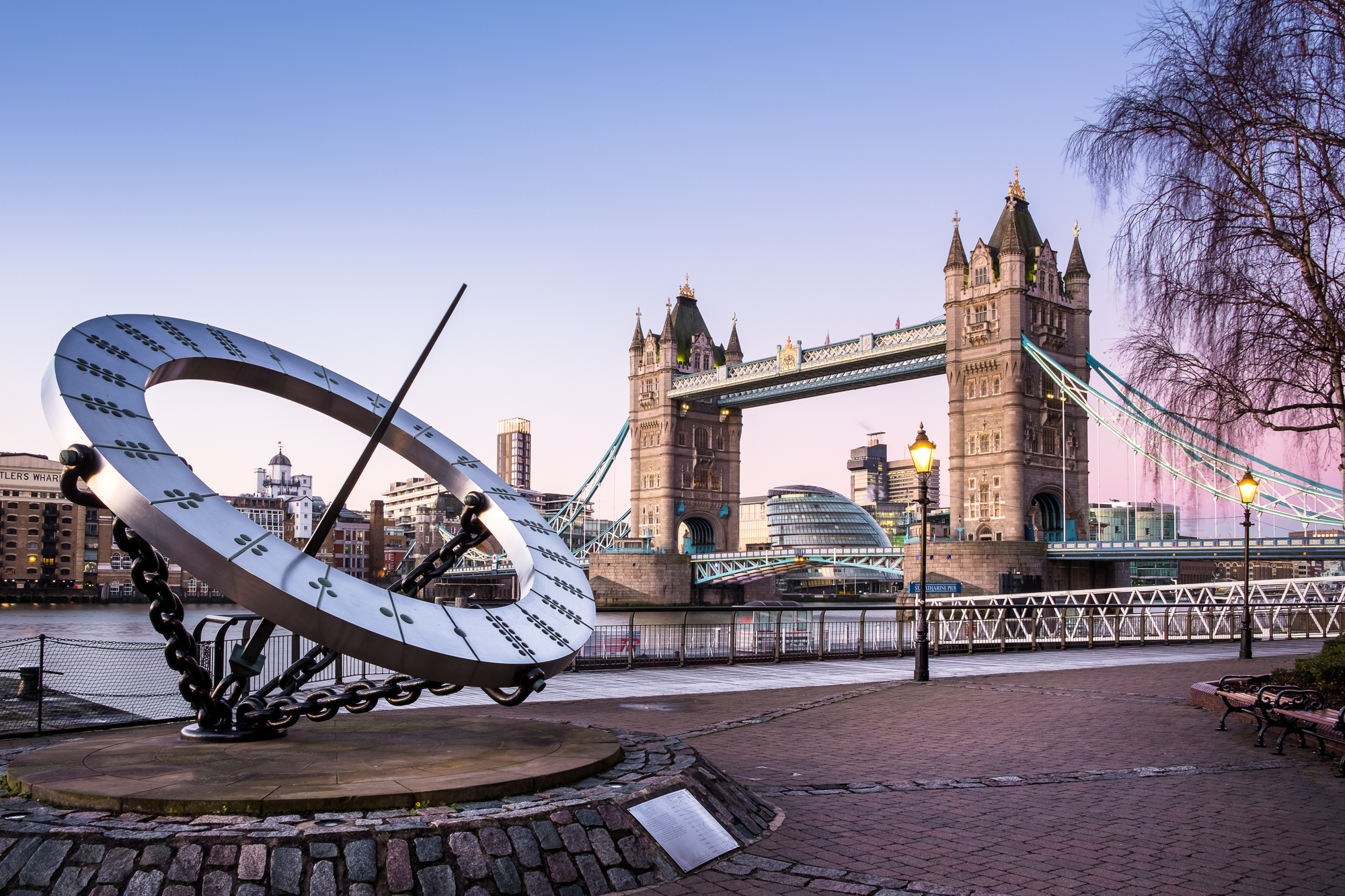 Photo of the sundial at Tower Bridge at sunrise by Trevor Sherwin