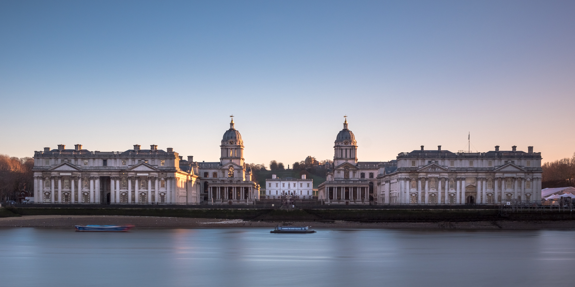 A long exposure photo of the greenwich naval college by trevor sherwin