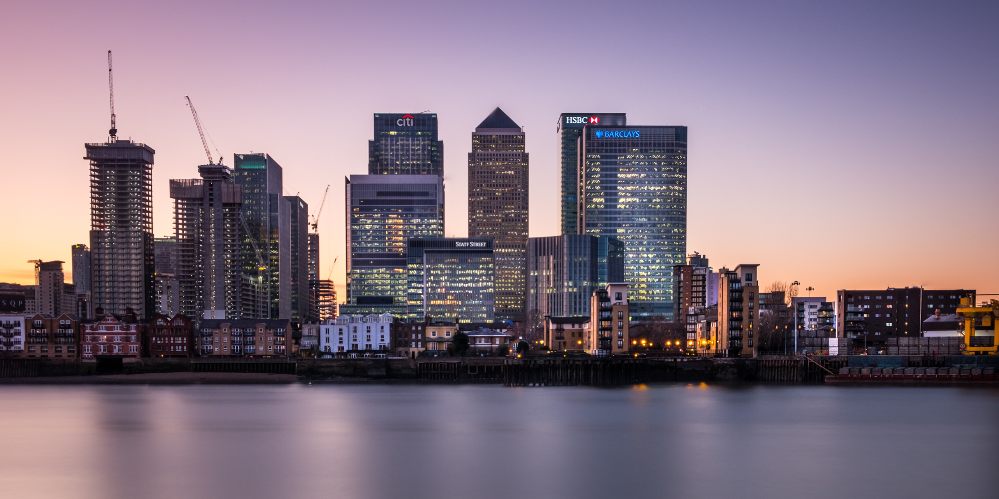 A photo of Canary Wharf at sunset taken by Trevor Sherwin