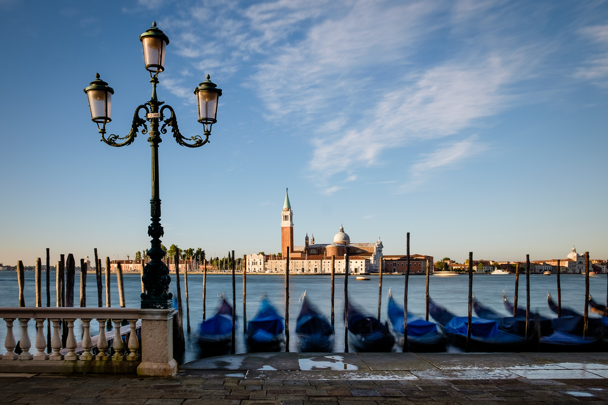 Photo of moored gondolas on the Bacino San Marco in Venice taken by Trevor Sherwin