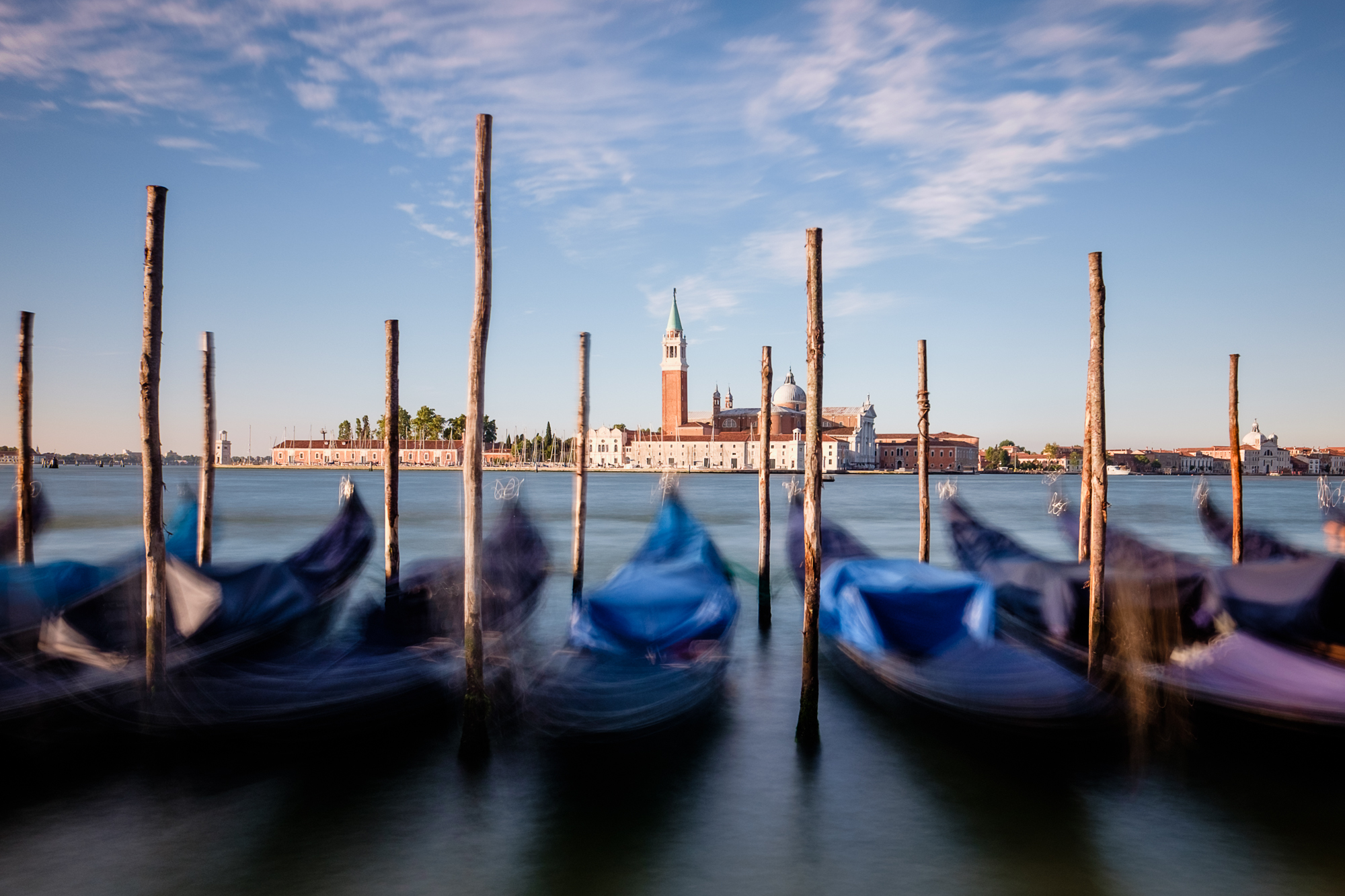 Blurry photo of moored gondolas on the Bacino San Marco in Venice taken by Trevor Sherwin