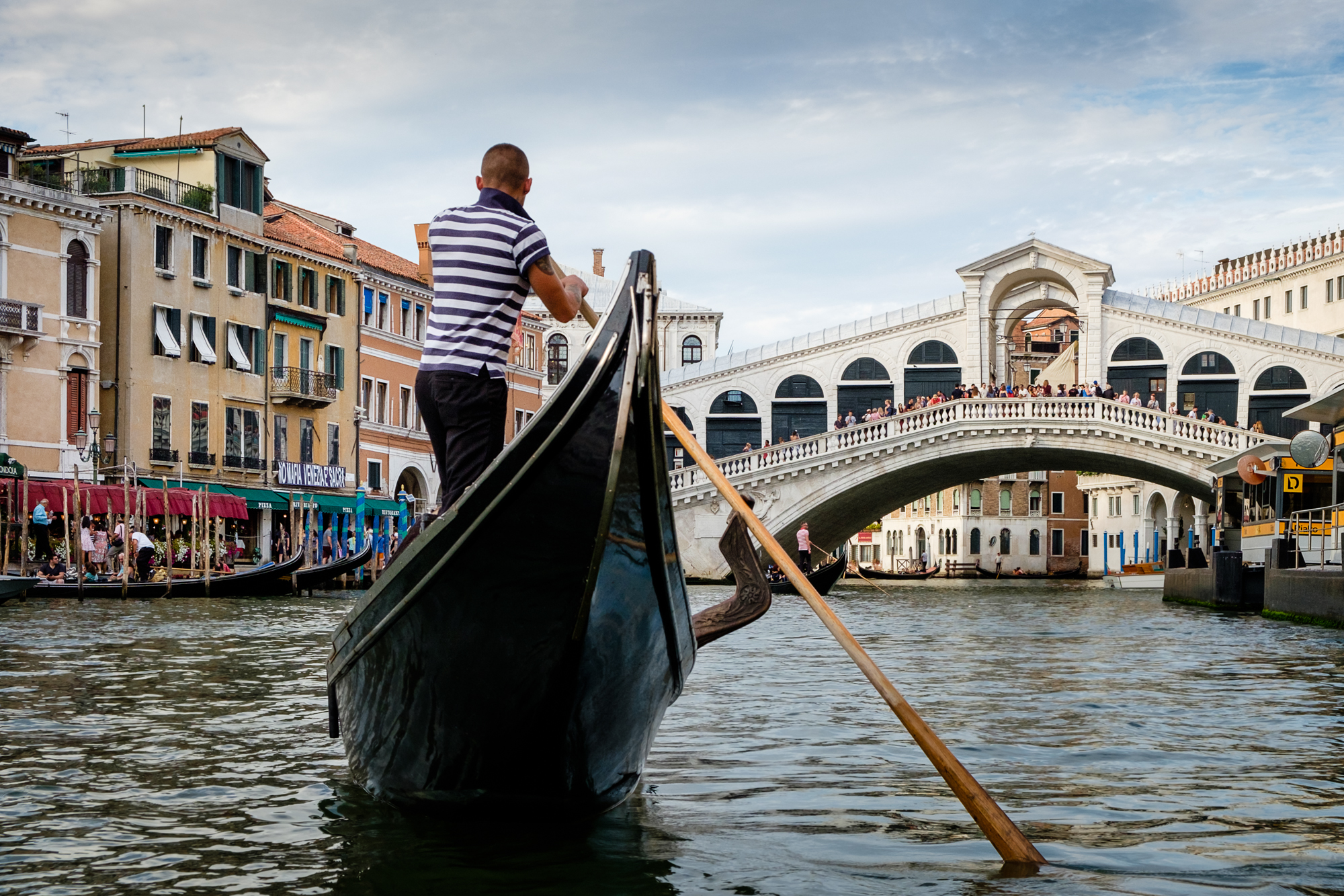 Photo of a gondola and the Rialto Bridge in Venice taken by Trevor Sherwin