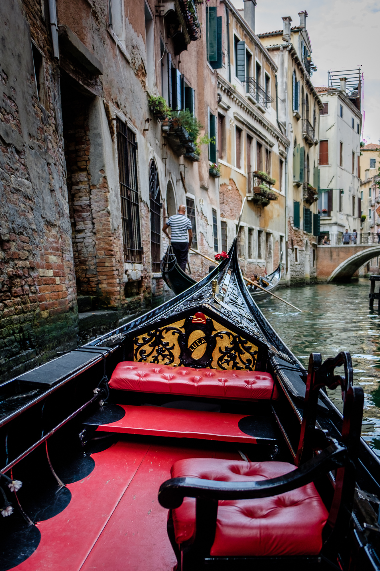 Photo of me riding the gondola in Venice by Trevor Sherwin