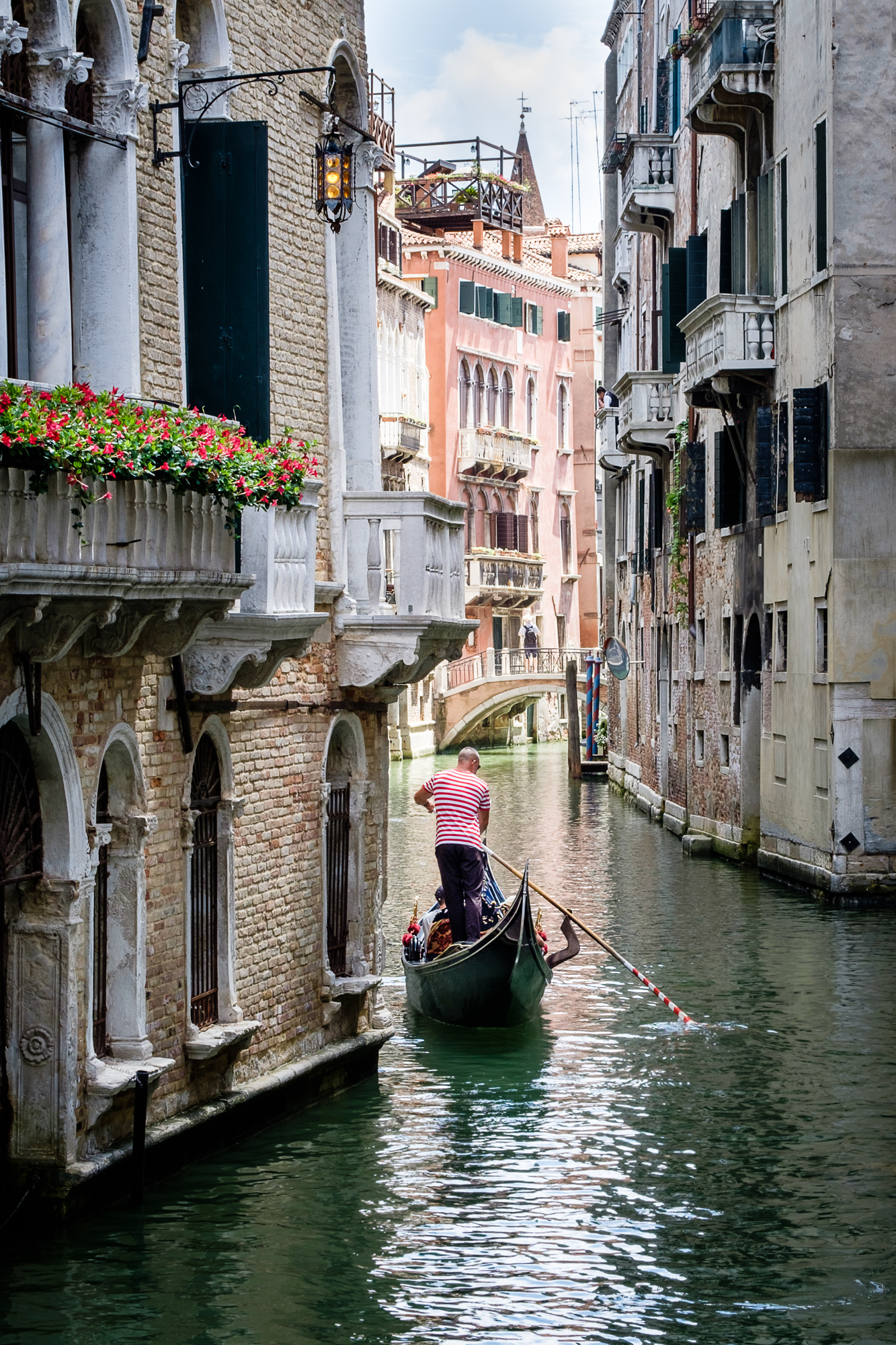 Photo of a gondola along the venetian canal taken by Trevor Sherwin