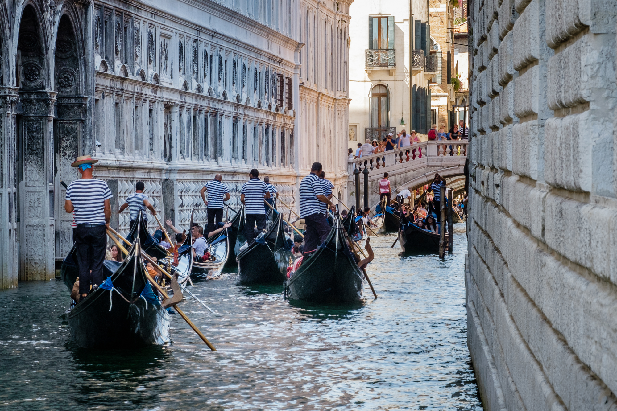 Photo of the gondola traffic along the canal under the Bridge of Sighs taken by Trevor Sherwin