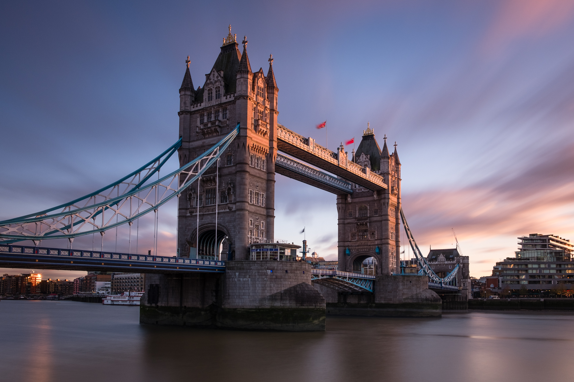 A long exposure photo of Tower Bridge at sunset taken by Trevor Sherwin
