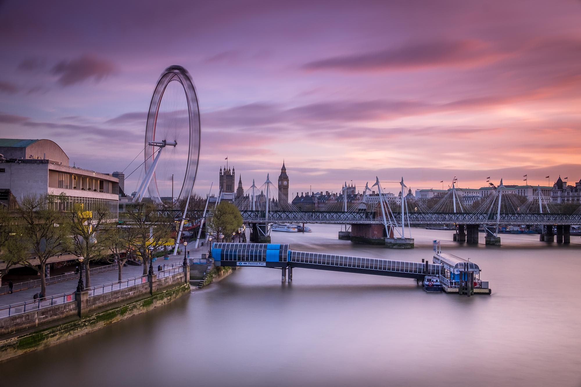 Long exposure sunset photo of the London eye taken by Trevor Sherwin
