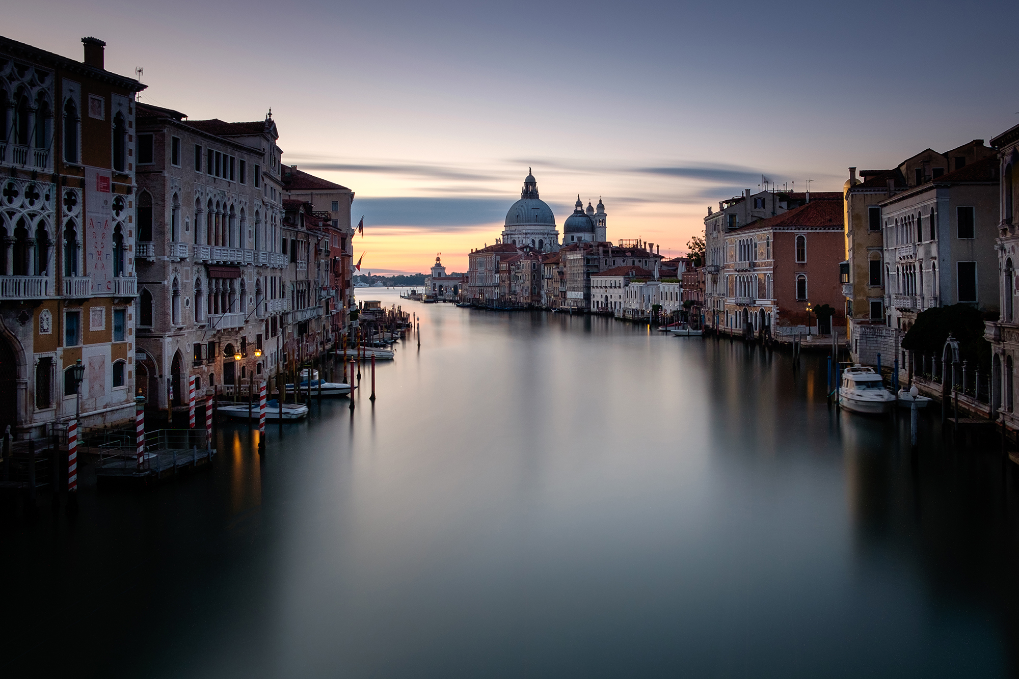 A long exposure photo of the Grand Canal in Venice taken at sunrise by Trevor Sherwin