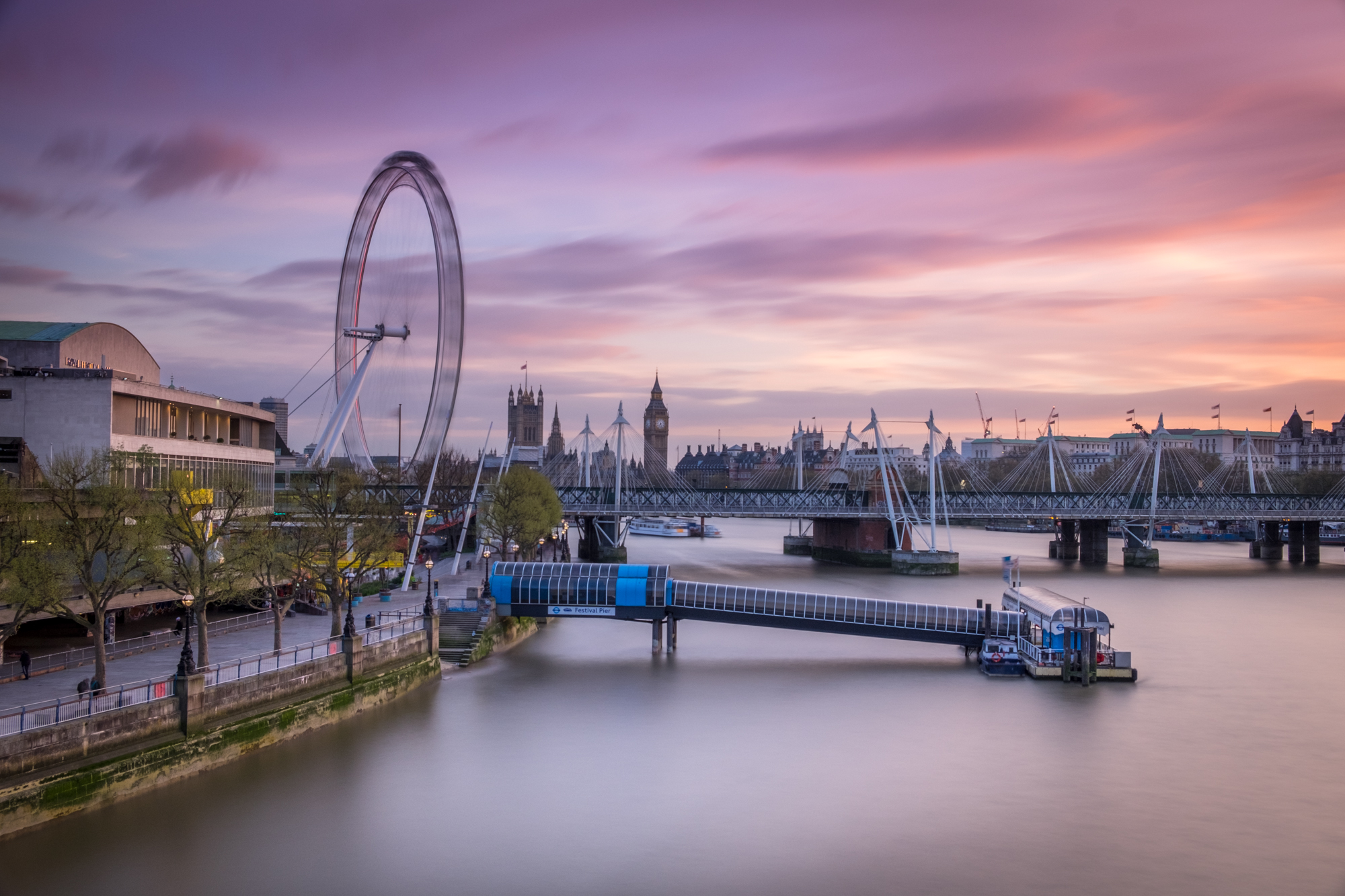 Sunset at the South Bank with selective lighting by Trevor Sherwin