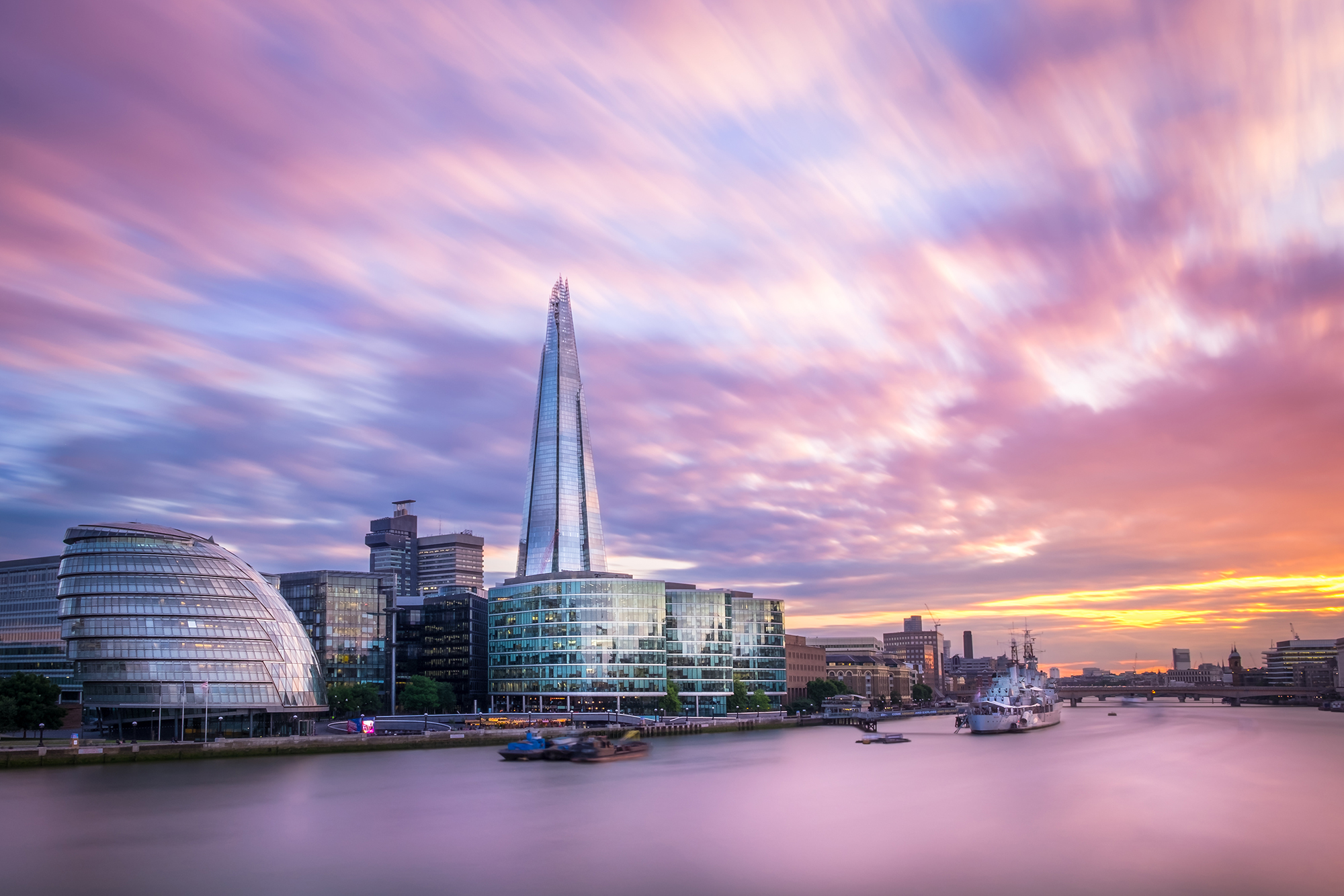 A long exposure photo of the Shard at Sunset taken by Trevor Sherwin