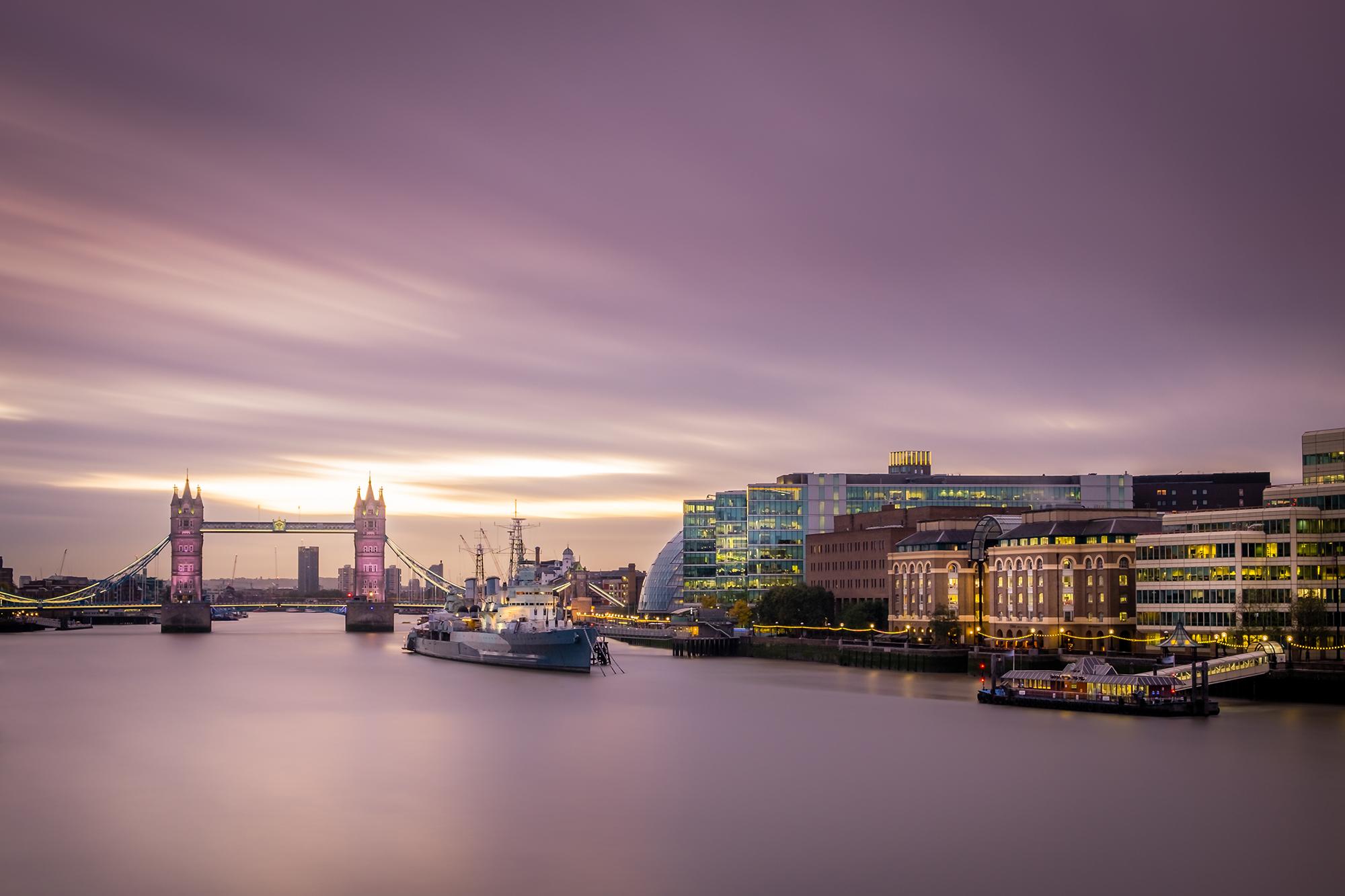 Long Exposure of Tower Bridge at sunrise taken by Trevor Sherwin