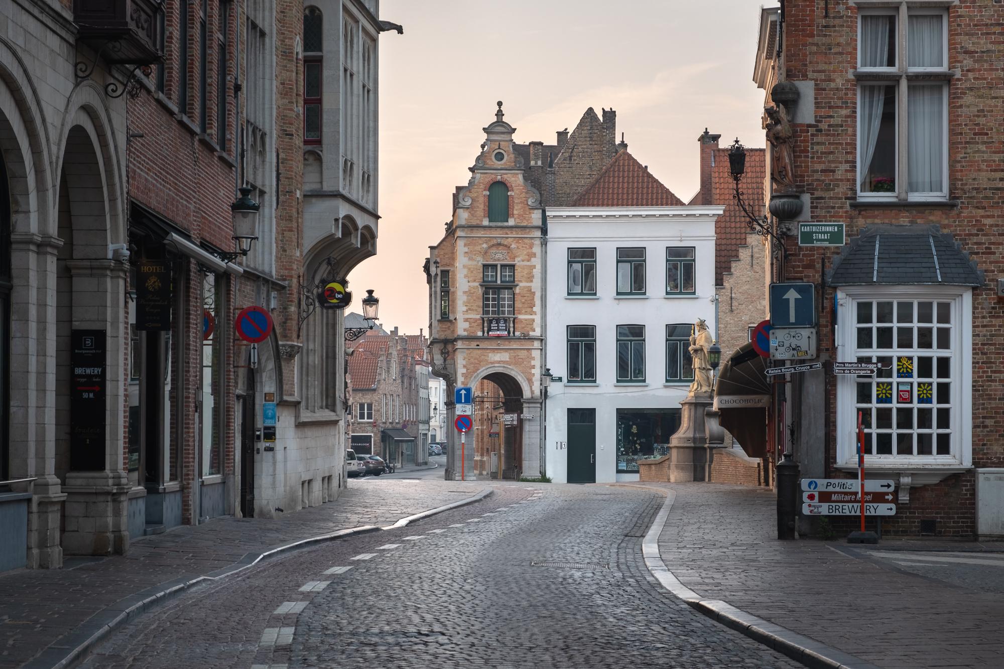 Wollestraat at Sunrise, Bruges