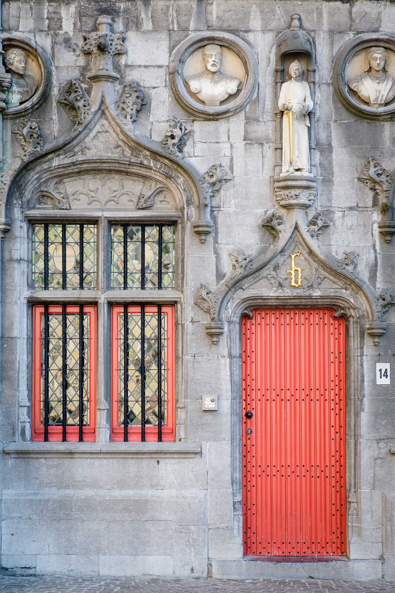 A photo of the Basilica of the Holy Blood on Burg Square in Bruges, Belgium taken by Trevor Sherwin