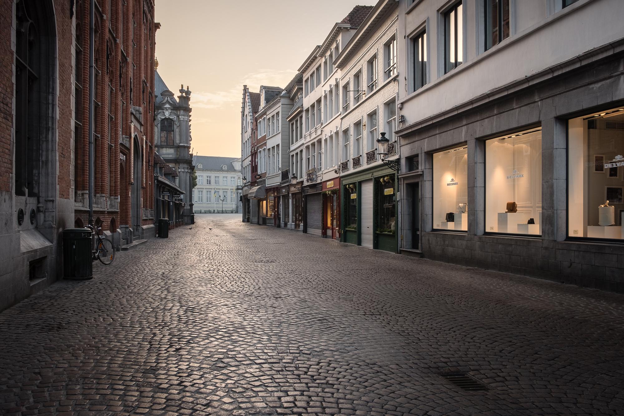 A cobbled street at Burg Square in Bruges, Belgium taken by Trevor Sherwin