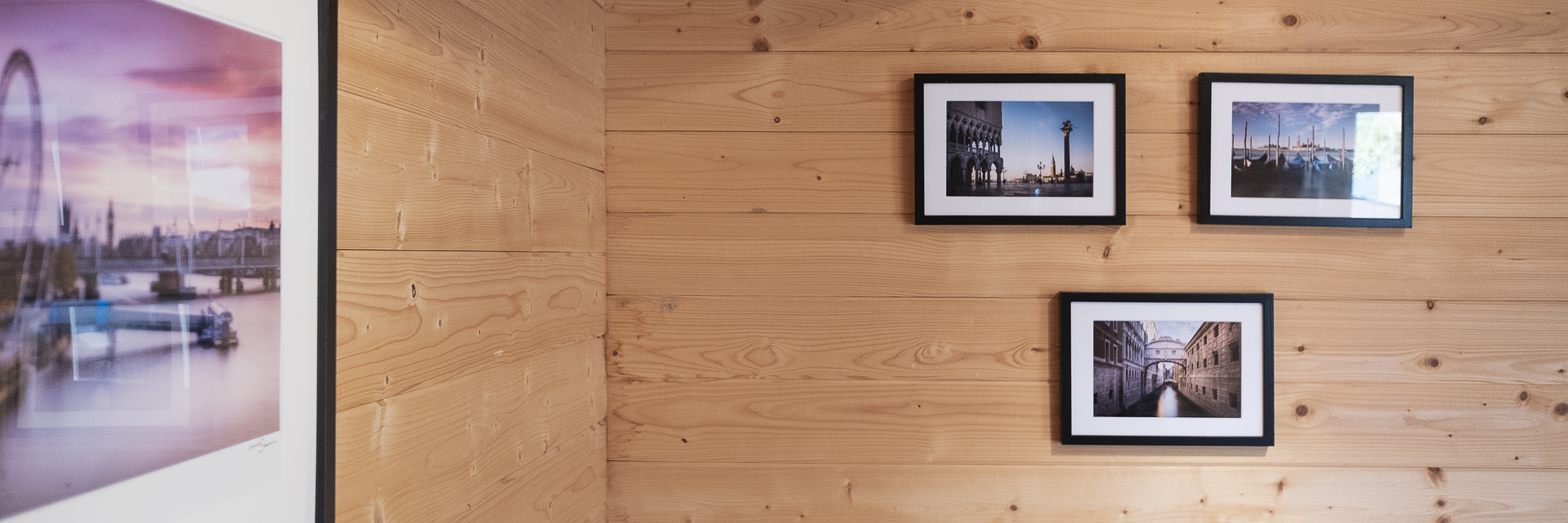 Venice prints mounted on the studio wall by Trevor Sherwin