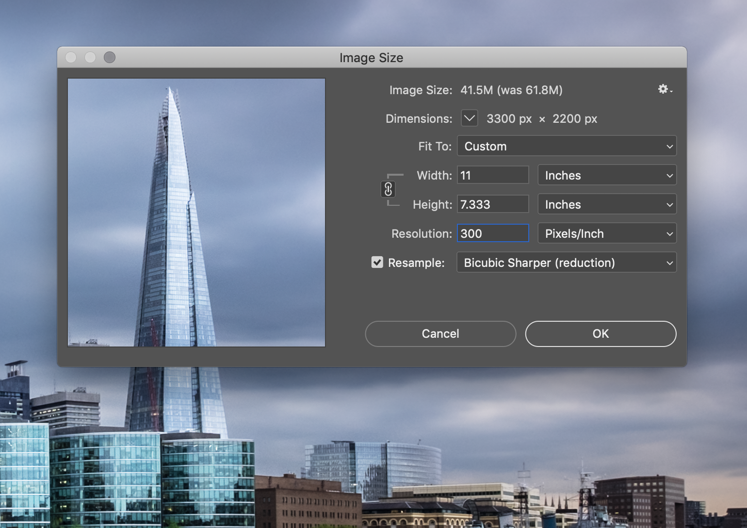 Screenshot of settings used to resize the image