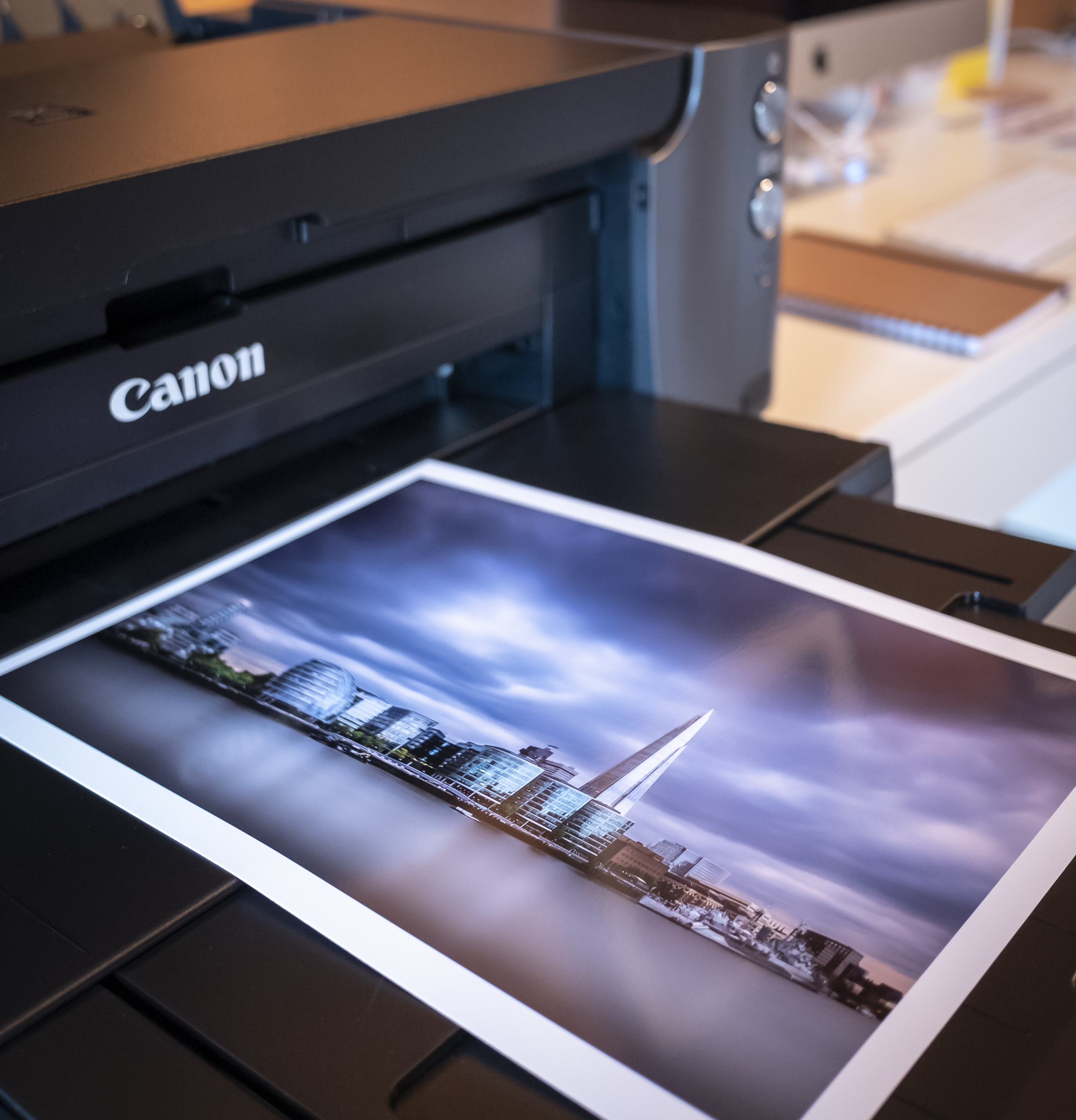 Photo of the printed image on the printer