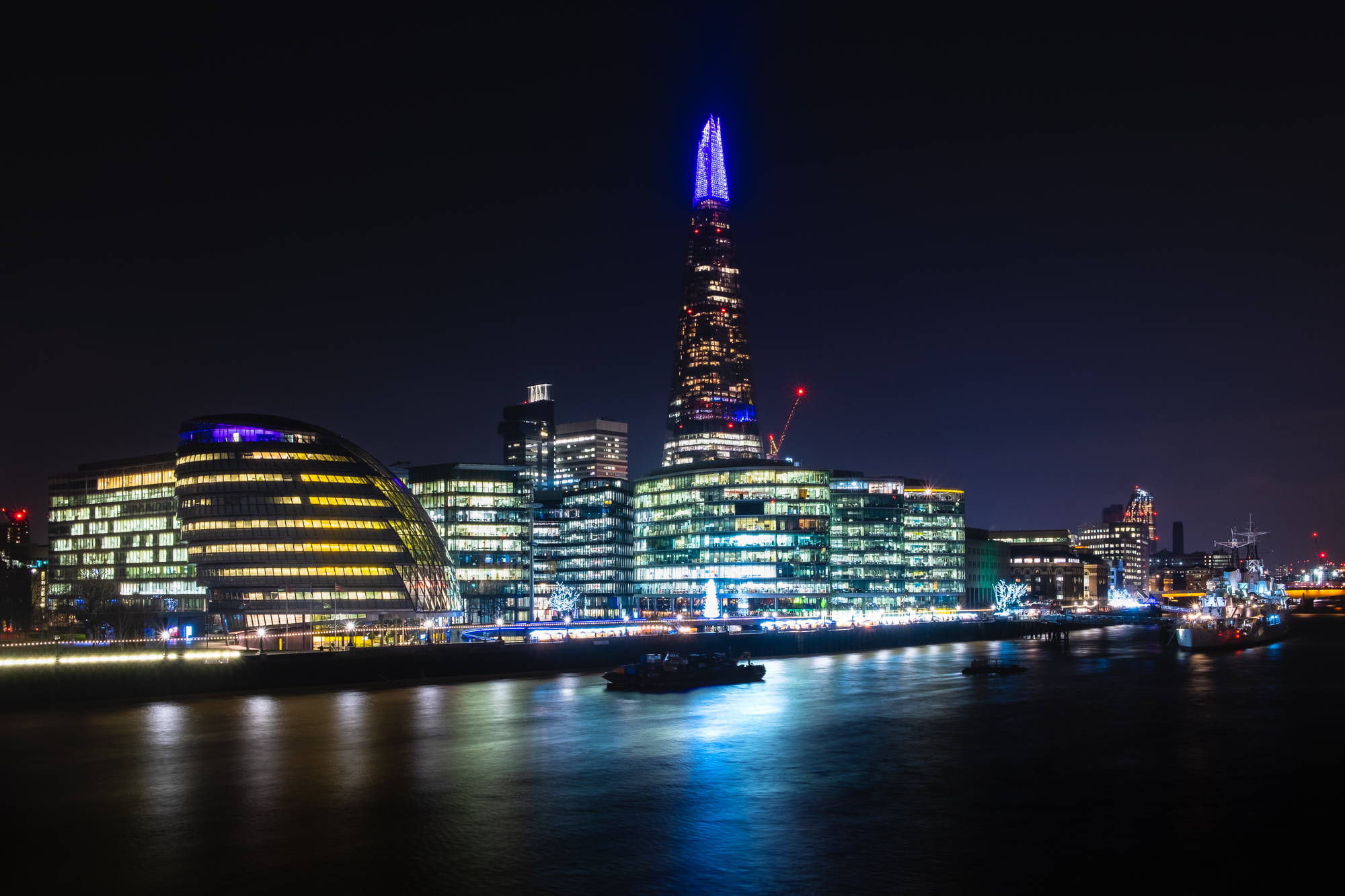 A photo of the Shard along the Thames at Christmas taken by Trevor Sheriwn