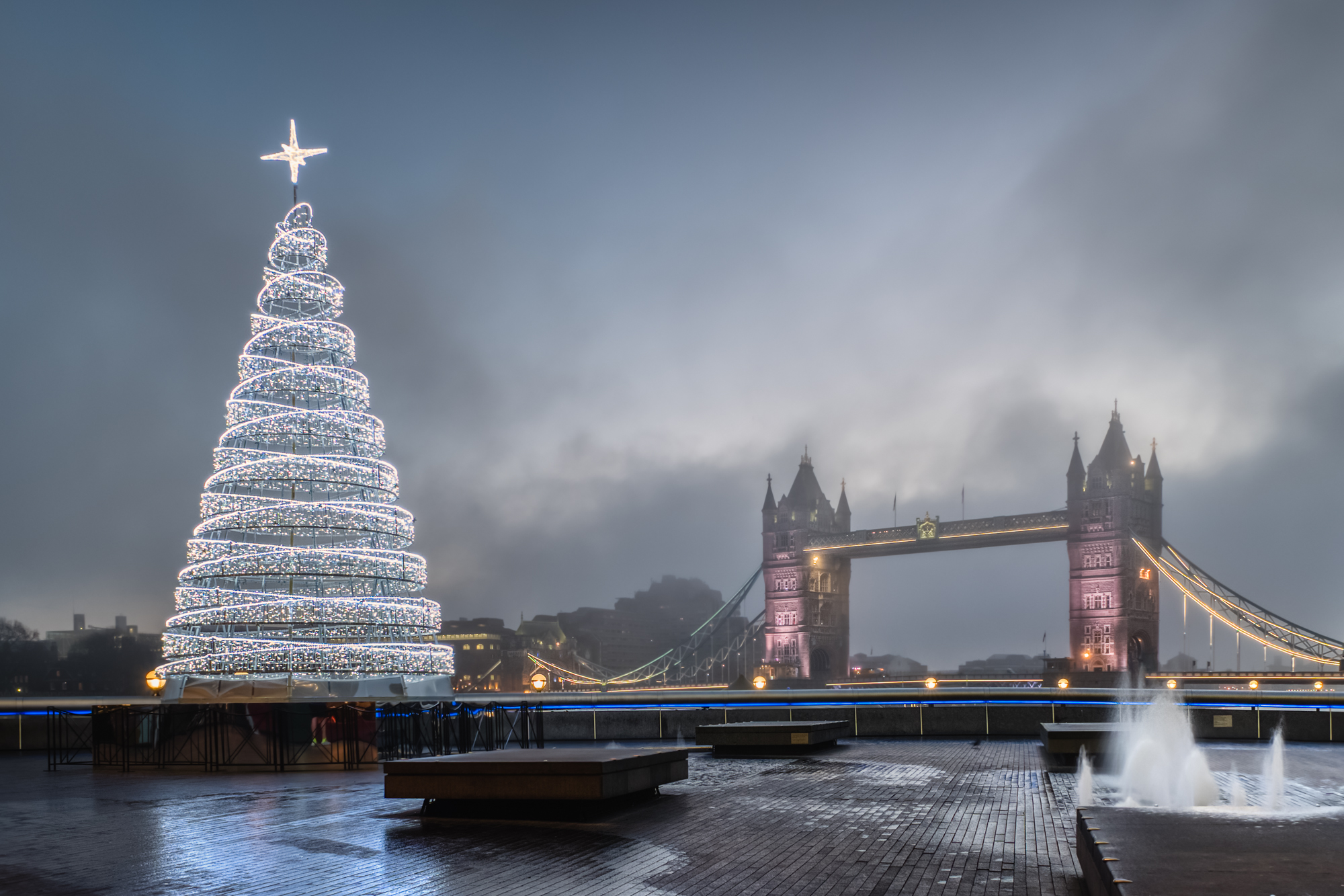 A photo of a Christmas Tree at More London Place and Tower Bridge taken by Trevor Sherwin