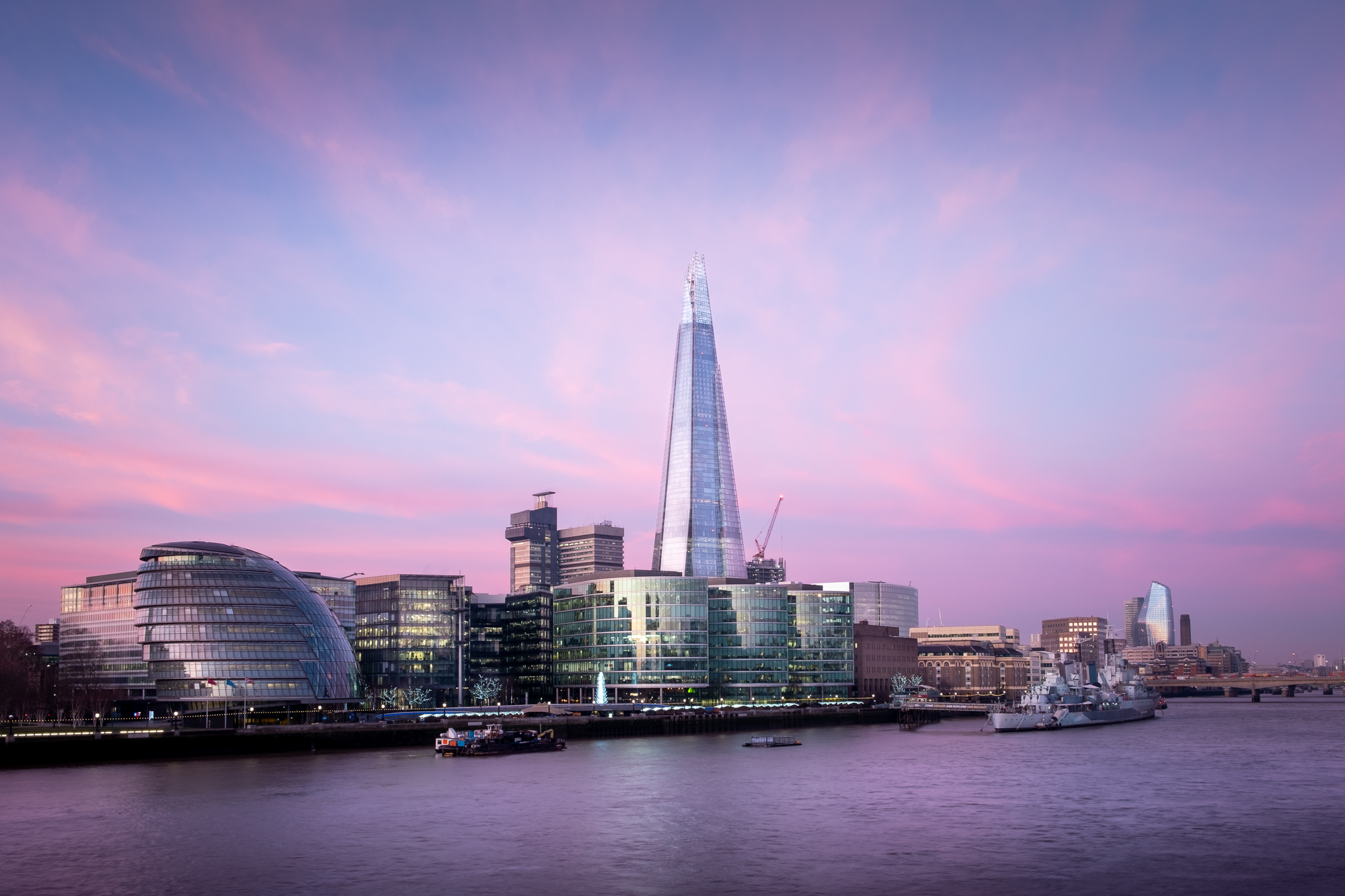A photo of The Shard and More London Place at sunrise taken by Trevor Sherwin