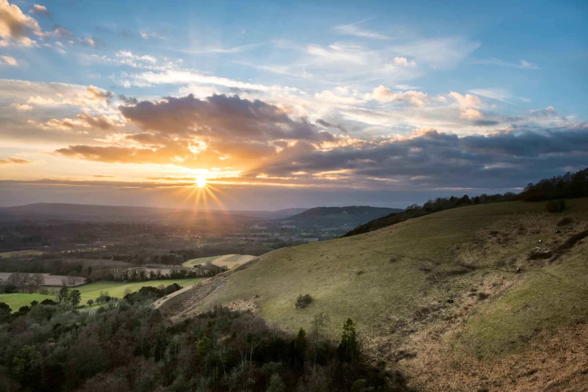 A photo of Colley Hill, Surrey, UK at sunset taken by Trevor Sherwin