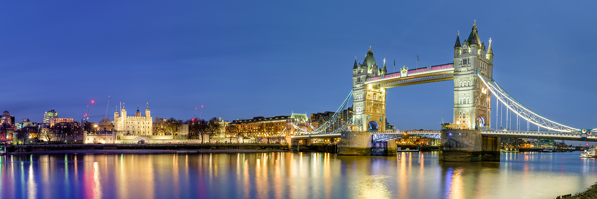 A London Panoramic at Blue Hour II - Tower Bridge and The Tower of London by Trevor Sherwin