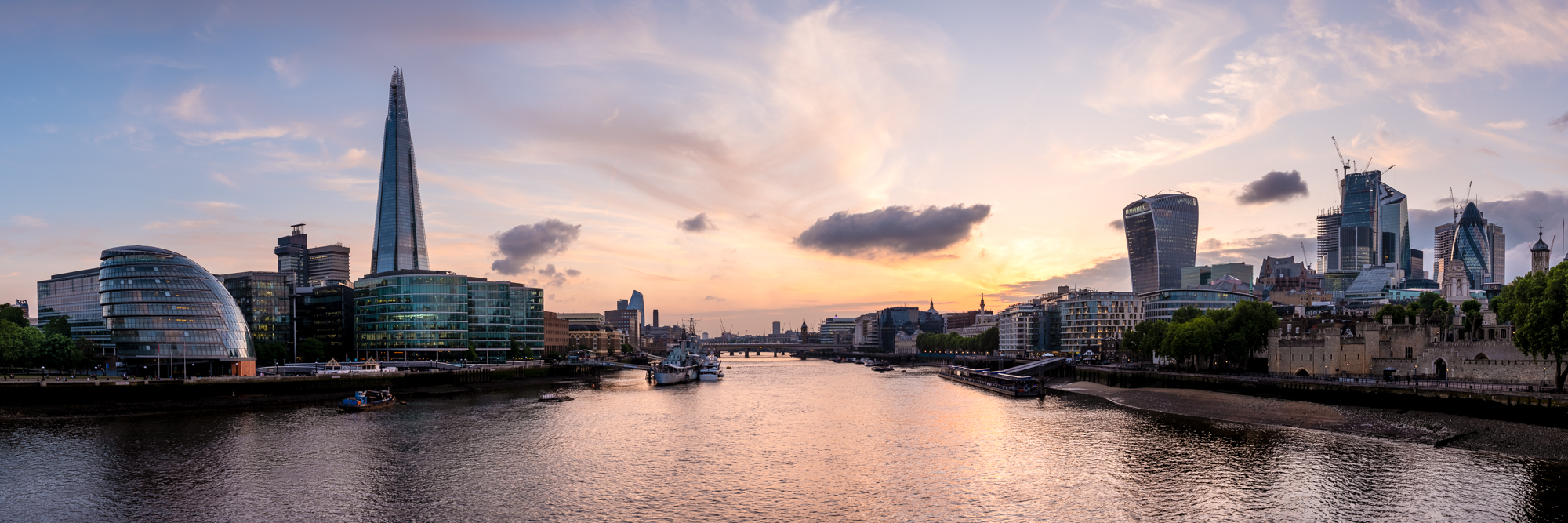 A London Panoramic at Sunset - The Shard by Trevor Sherwin