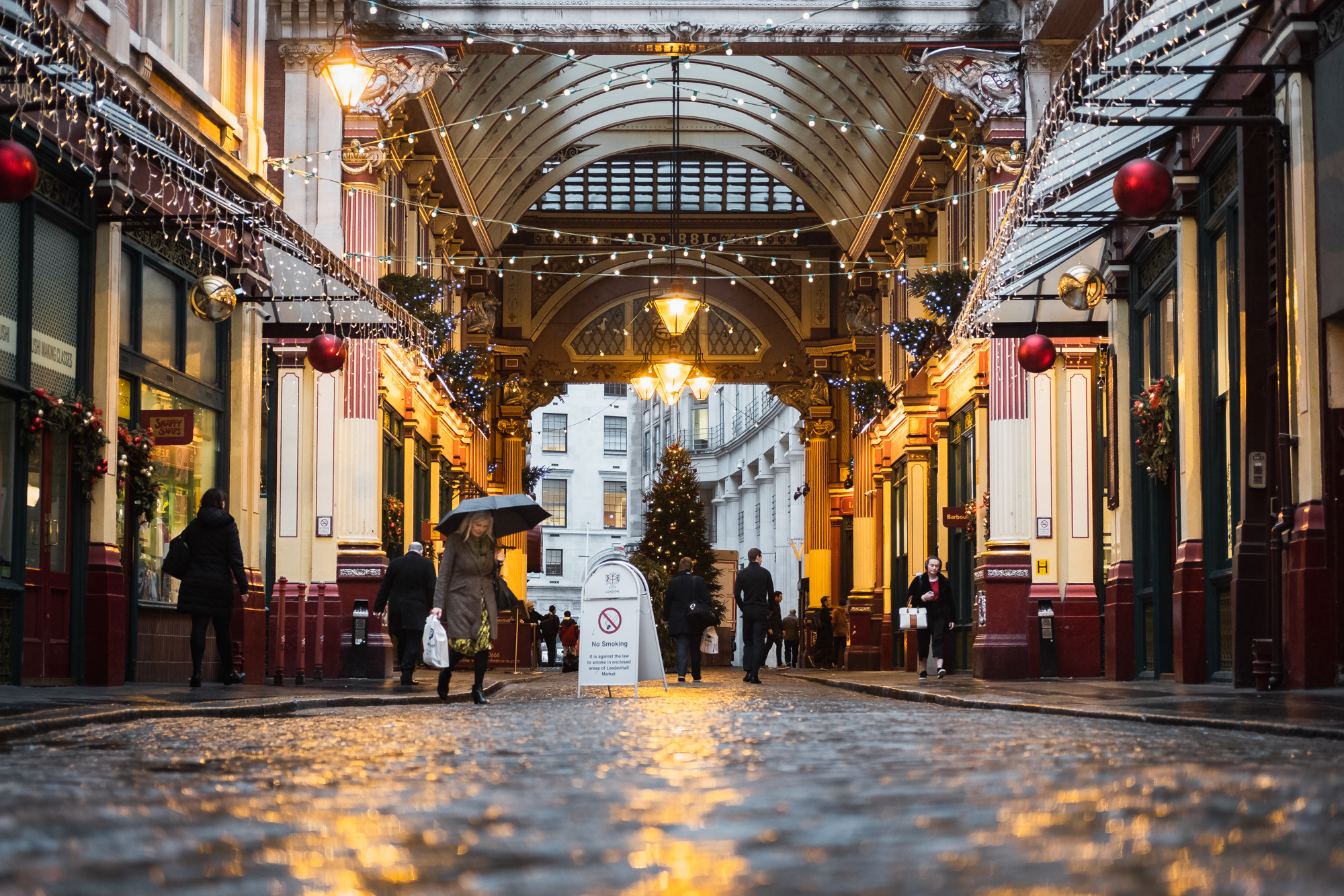 A photo of Leadenhall Market in the rain by Trevor Sherwin Photography