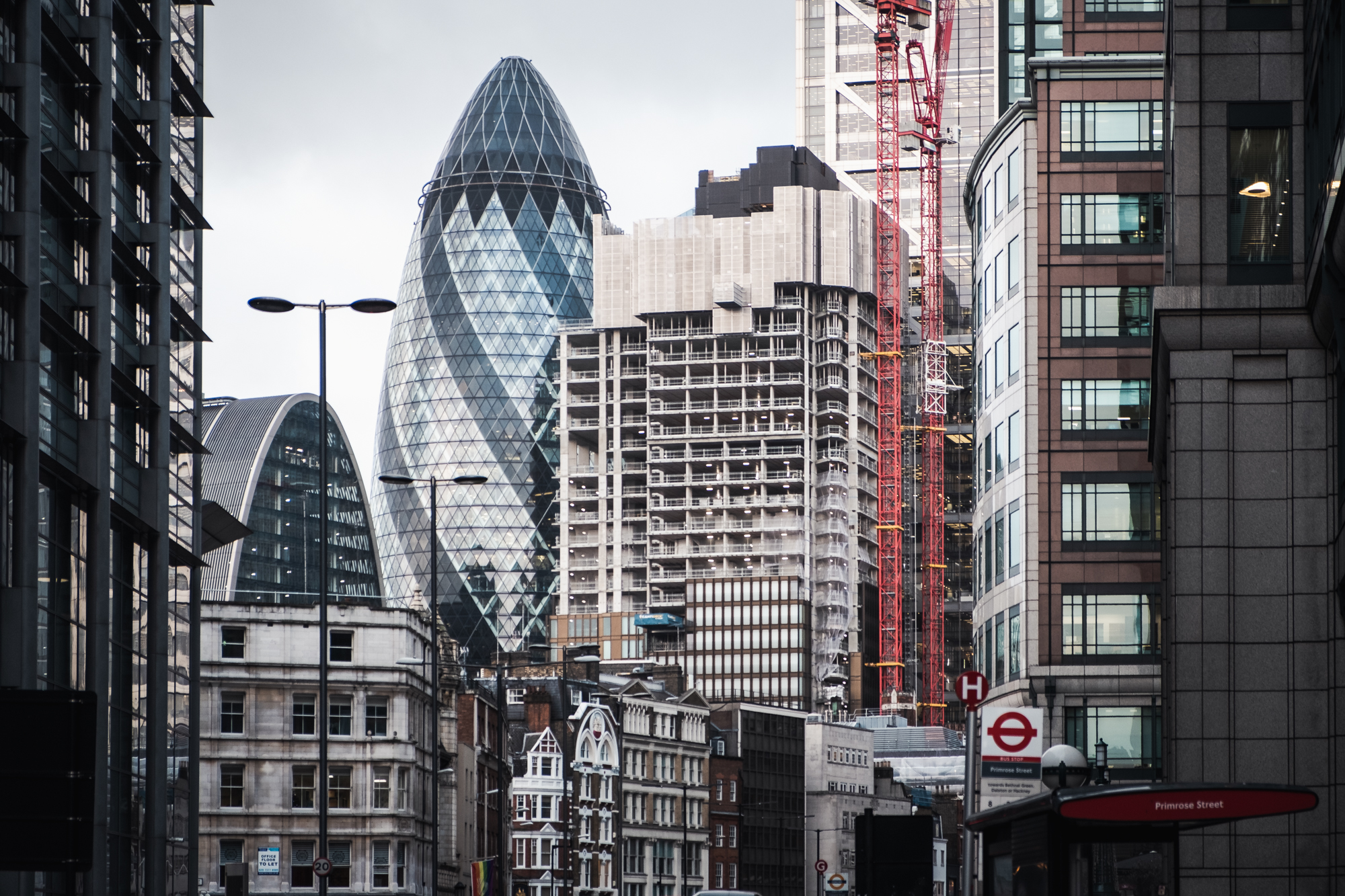 A photo of the Gherkin in the city of London by Trevor Sherwin Photography