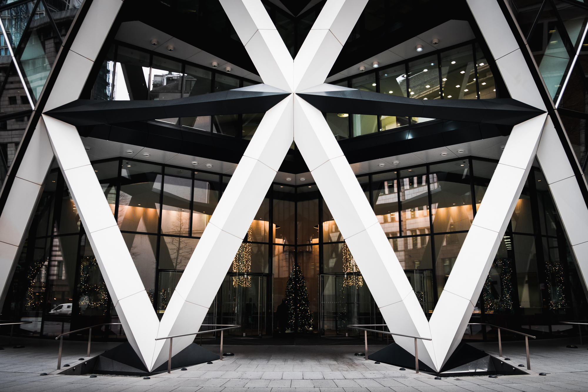 A photo of the main entrance to the Gherkin in London by Trevor Sherwin Photography
