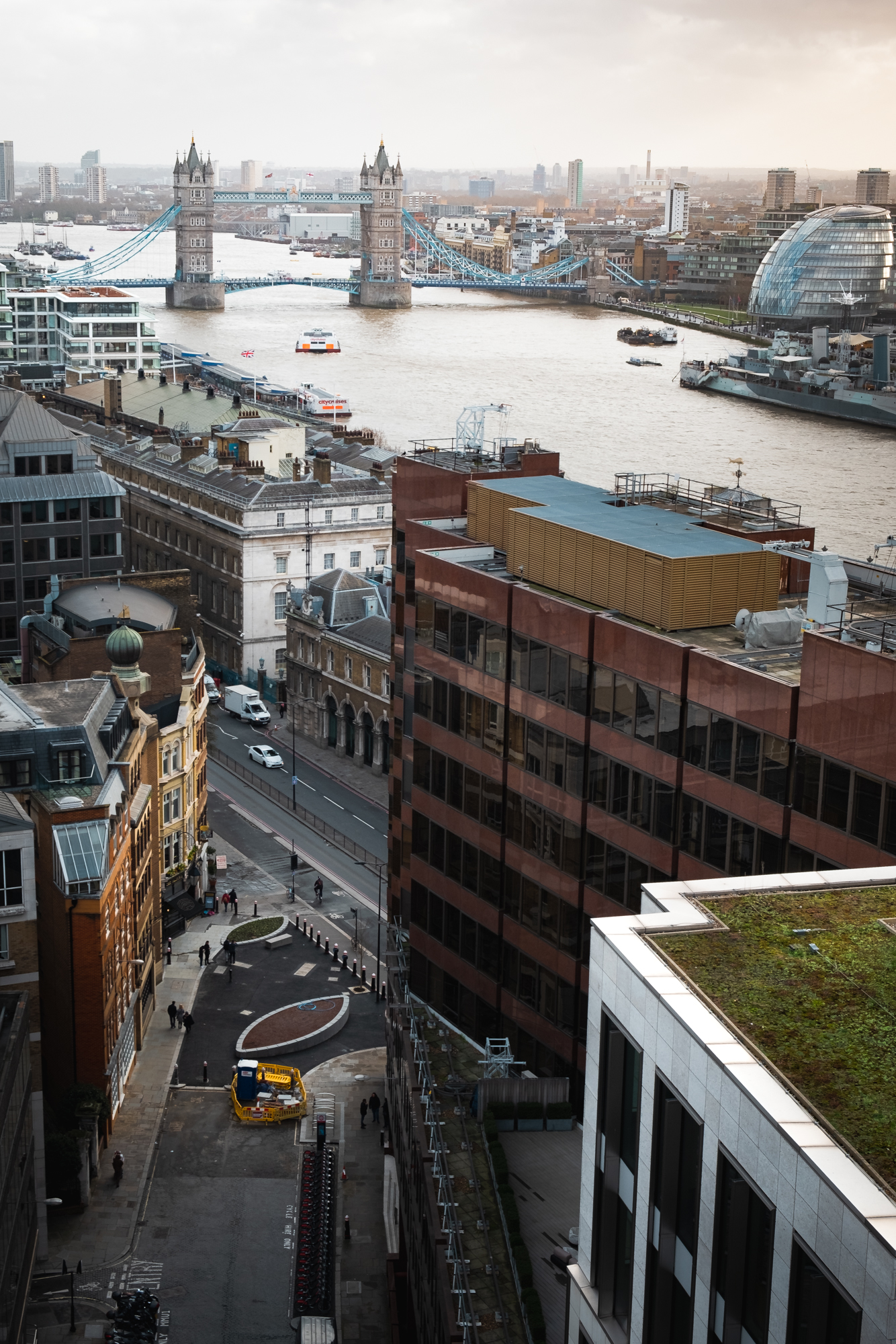 A photo of Tower bridge and the River Thames taken from the top of the Monument in London by Trevor Sherwin Photography