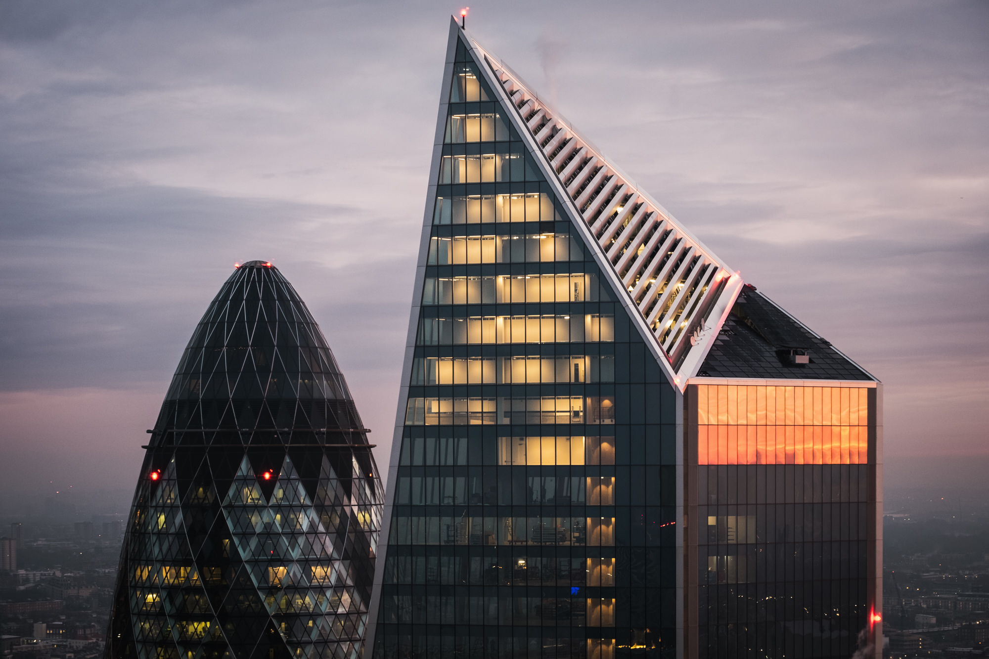 A photo of the top of the Gherkin and Scalpel buildings taken from the Sky Garden by Trevor Sherwin