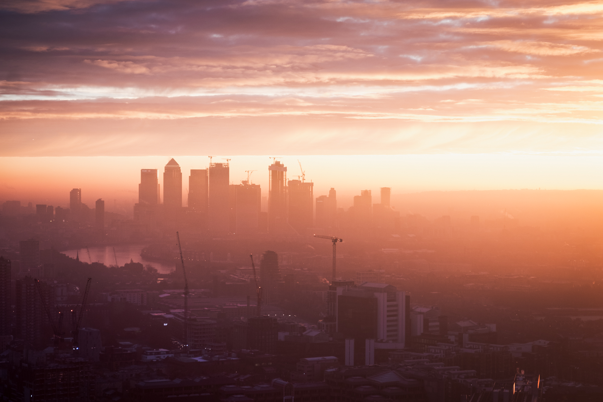 The view across East London at sunrise taken from the Sky Garden by Trevor Sherwin