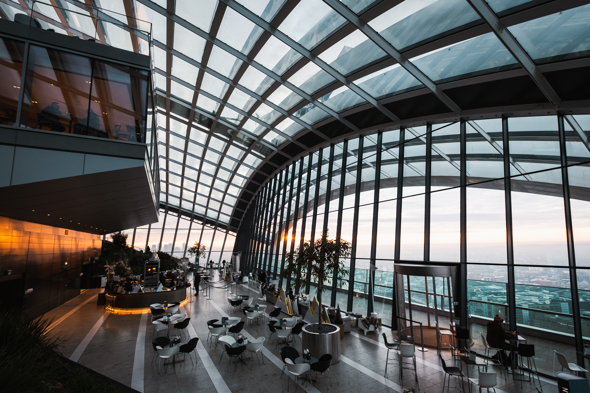A photo of the Sky Garden's interior architecture taken by Trevor Sherwin