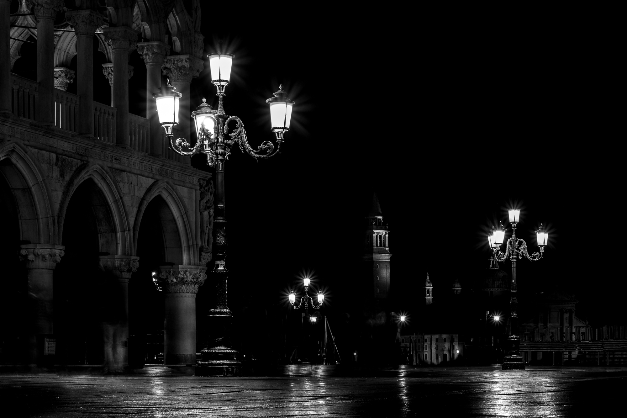 A photo of Piazza San Marco and San Marco Basin in Venice at night taken by Trevor Sherwin