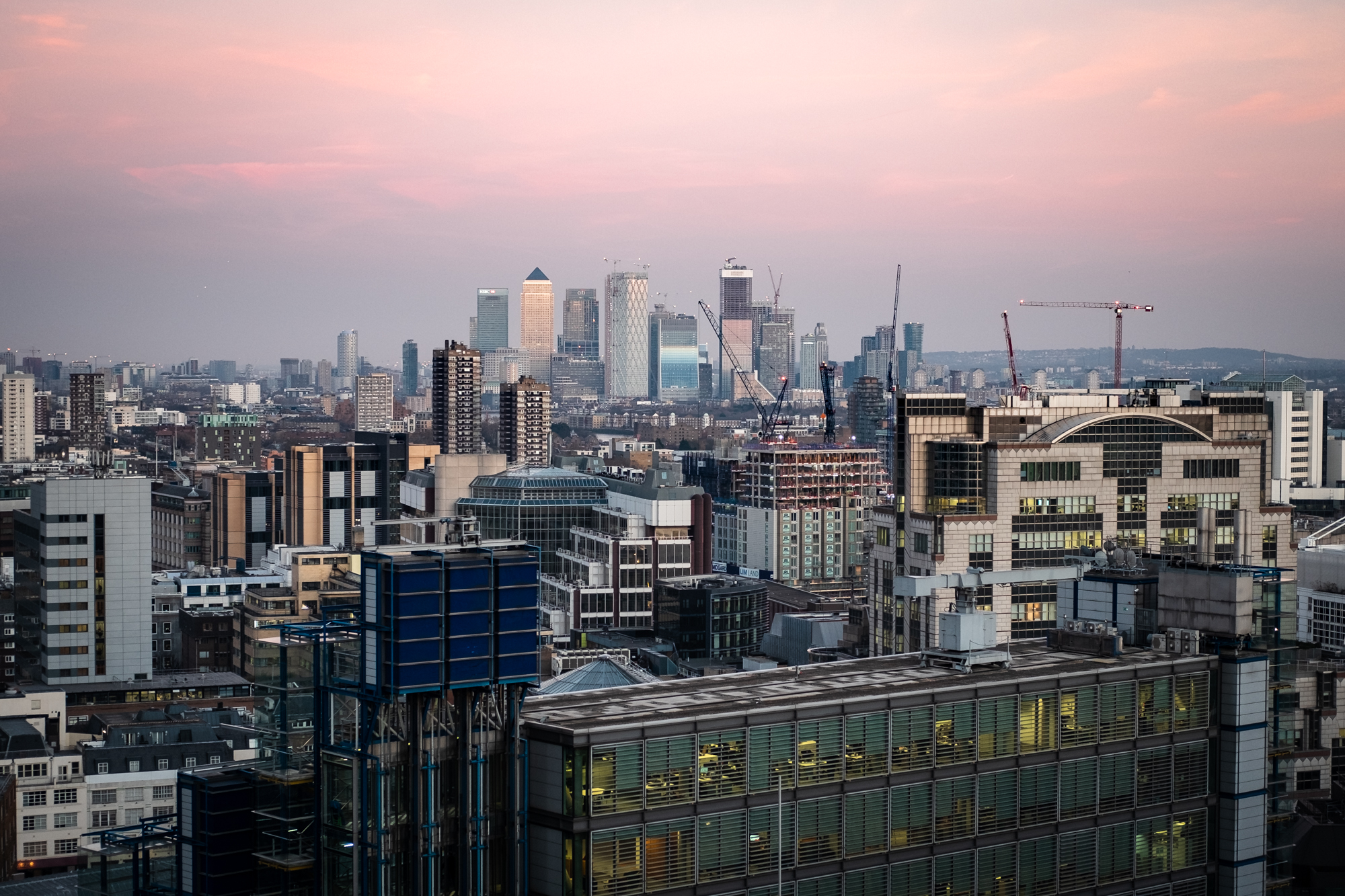 A photo of Canary Wharf taken from Garden at 120 in London by Trevor Sherwin