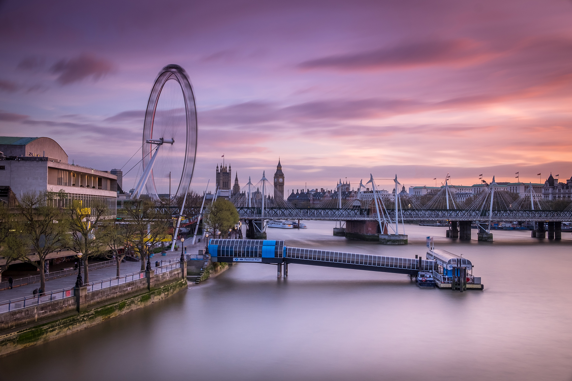 Cityscape long exposure photo of the South Bank and the London Eye, London by Trevor Sherwin